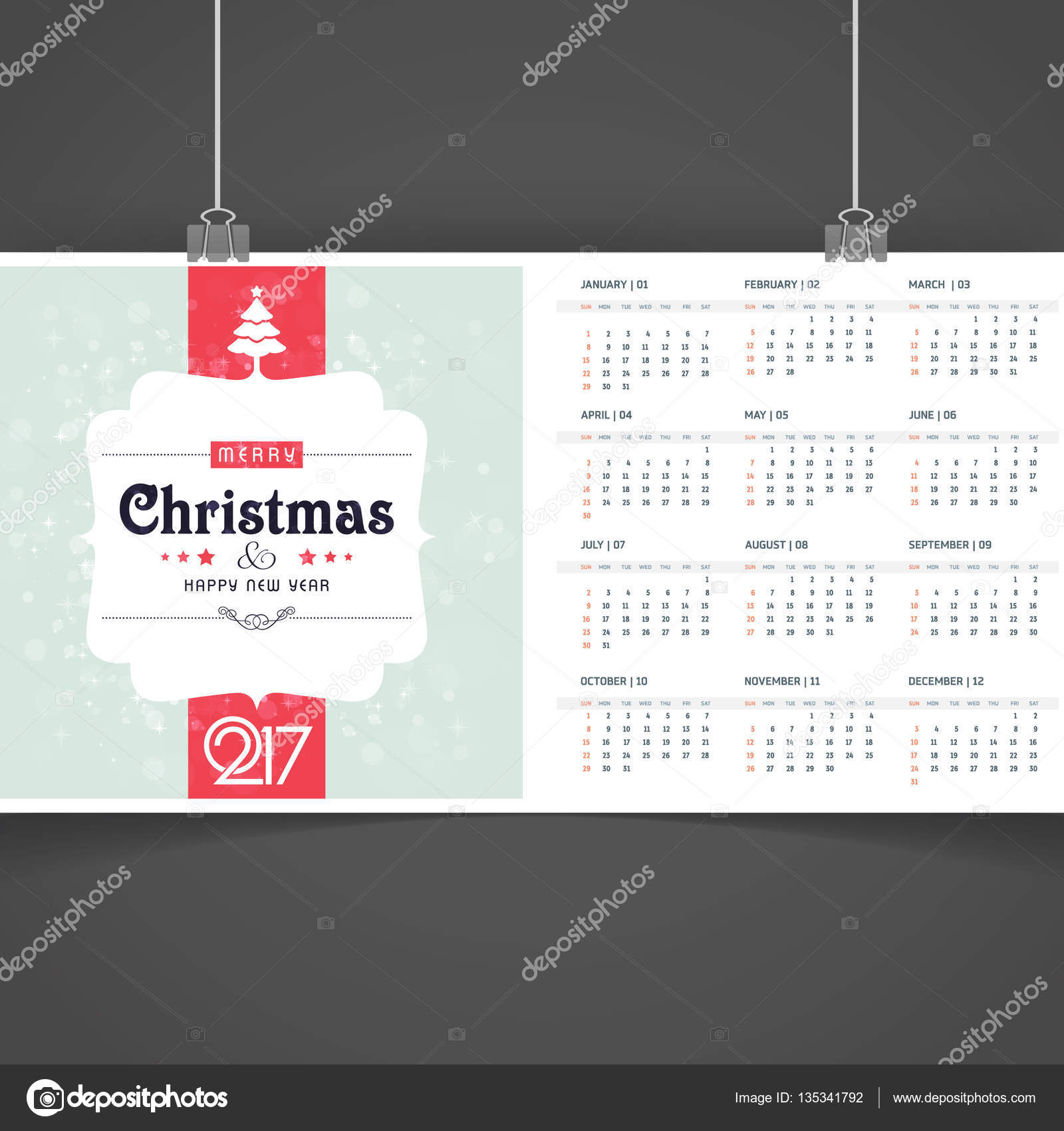 graphic regarding Printable Christmas Calendar identify 2017 Printable Xmas calendar Inventory Vector © ibrandify