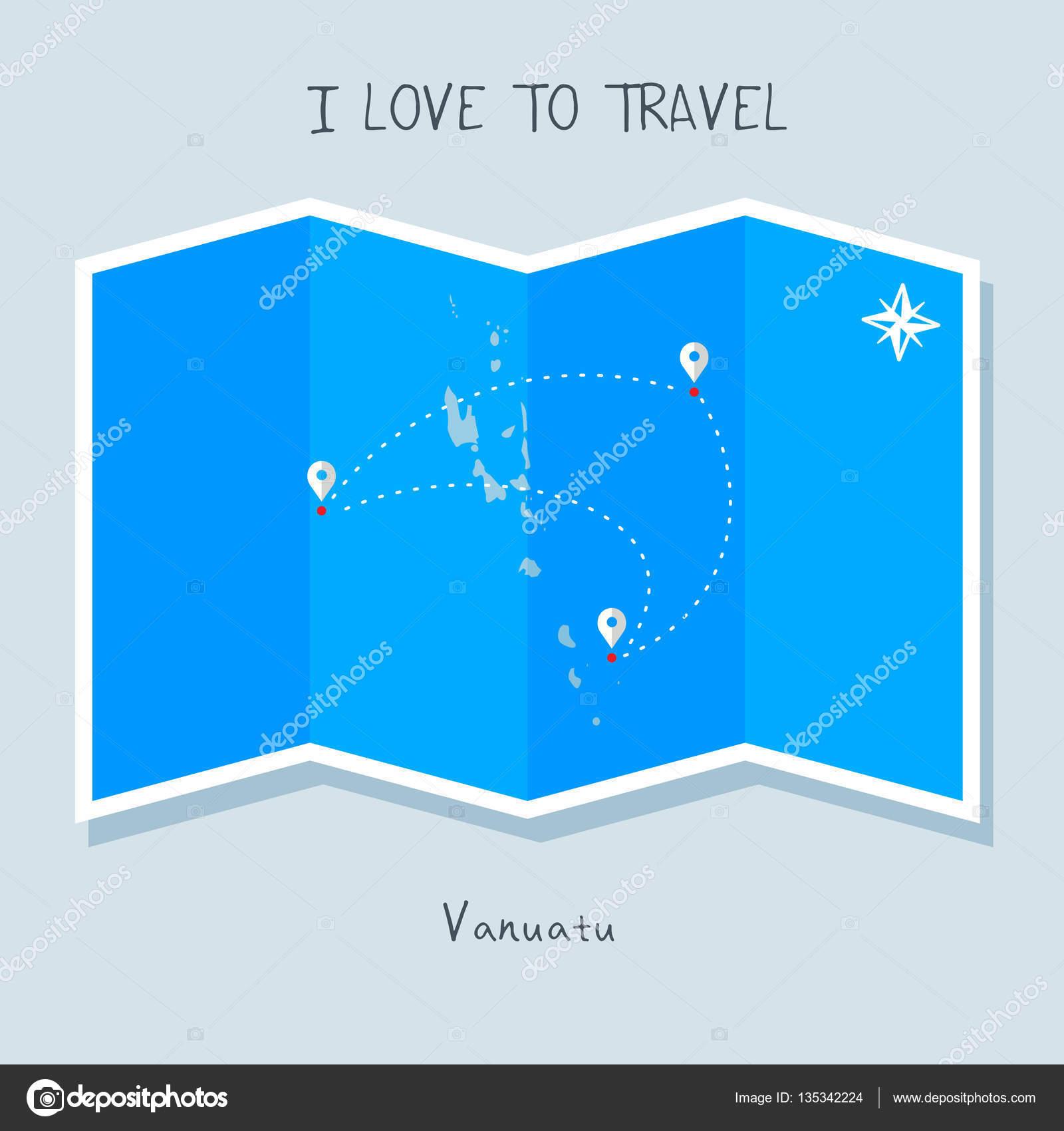 Where Is Vanuatu Located On A World Map.Vanuatu On Blue World Map Stock Vector C Ibrandify 135342224