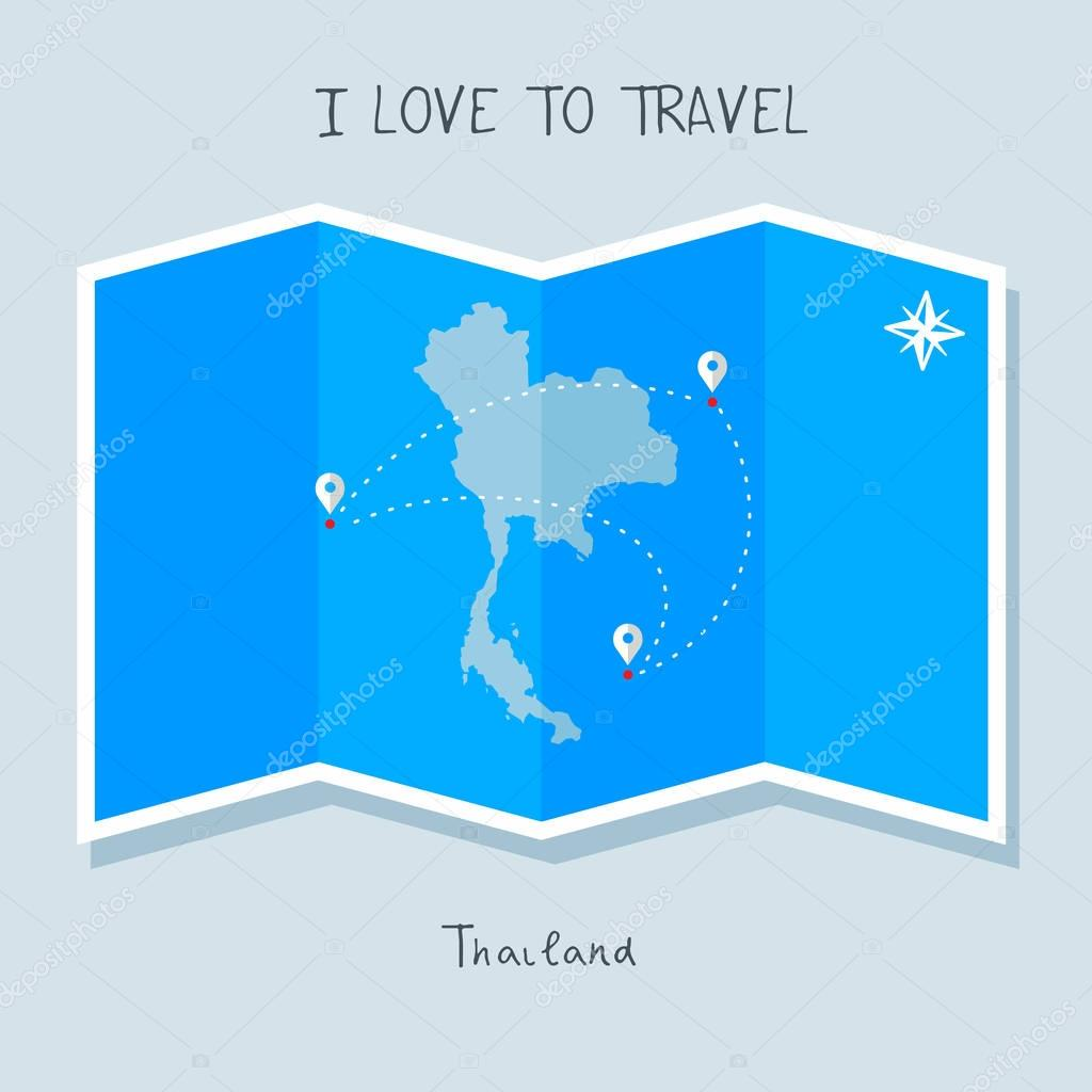 Thailand  on blue world map