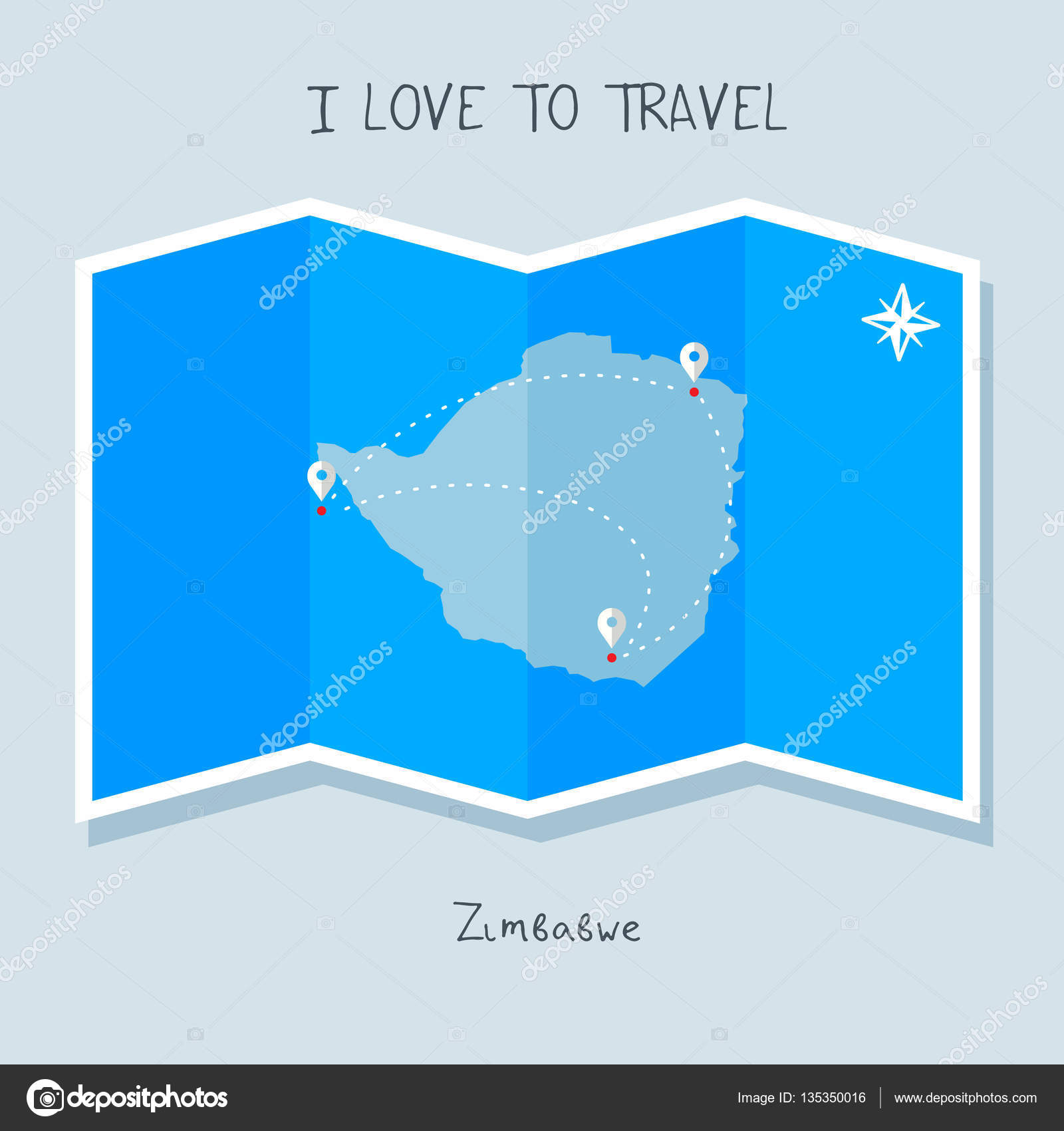 Zimbabwe on blue world map — Stock Vector © ibrandify #135350016