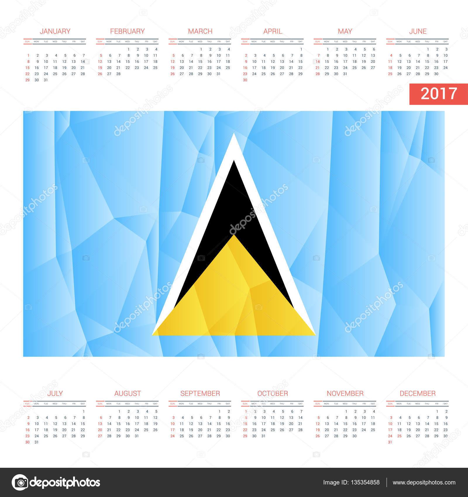 Santa Lucia Calendario.Calendario 2017 Con La Bandera De Santa Lucia Vector De