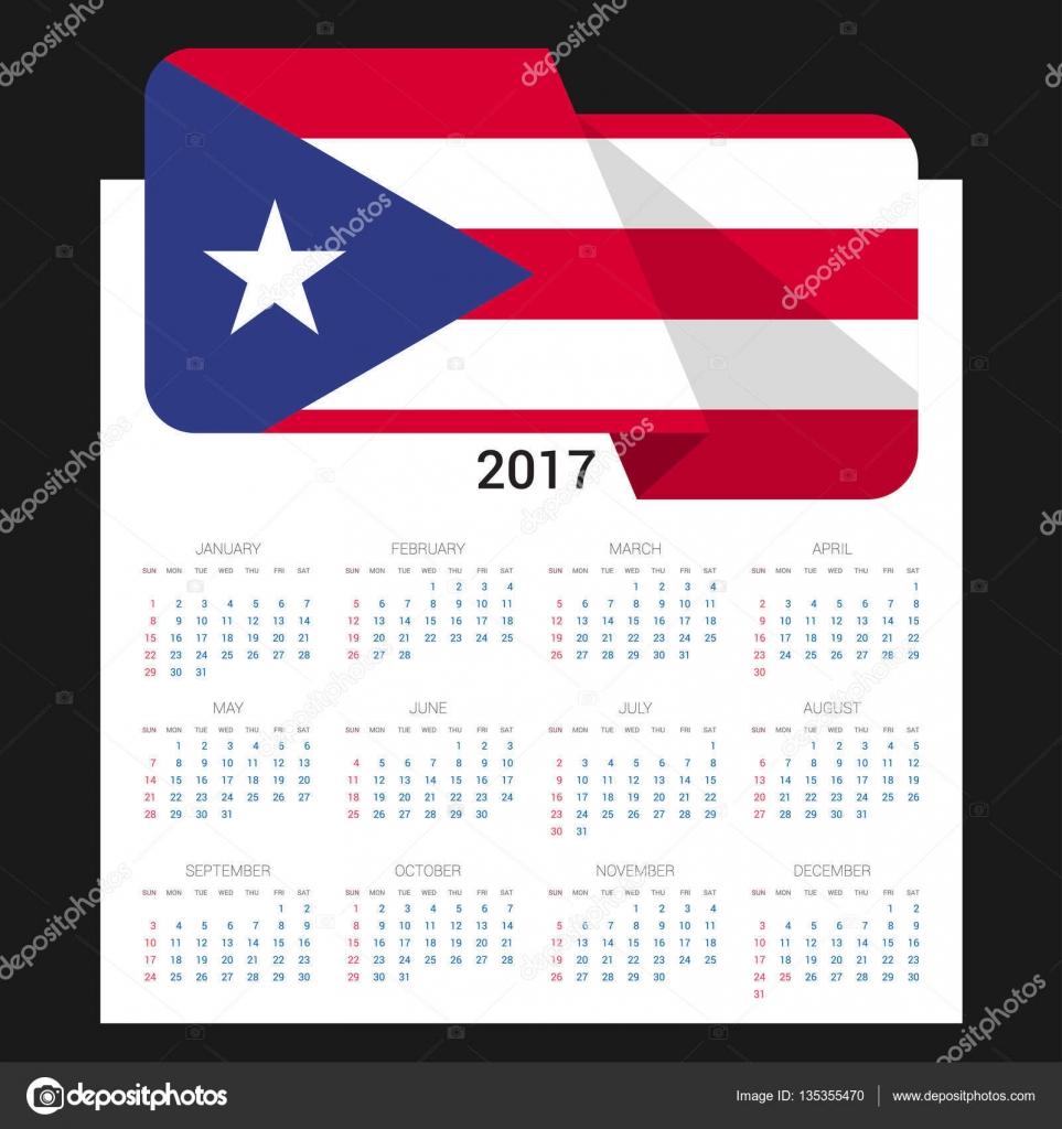 Calendario 2017 Con La Bandera De Puerto Rico Vector De Stock