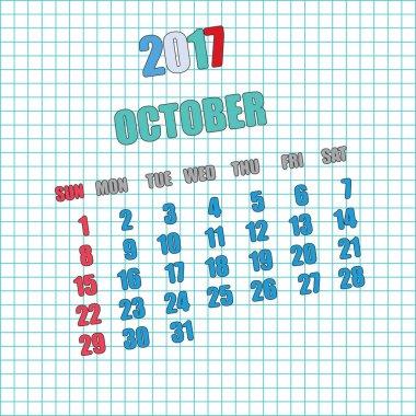2017 calendar for month  October