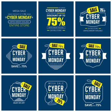 set of banners of cyber monday sale