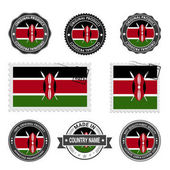 Photo set of colored stamps Kenya
