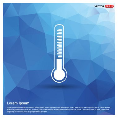 Thermometer in blue button, vector illustration clip art vector