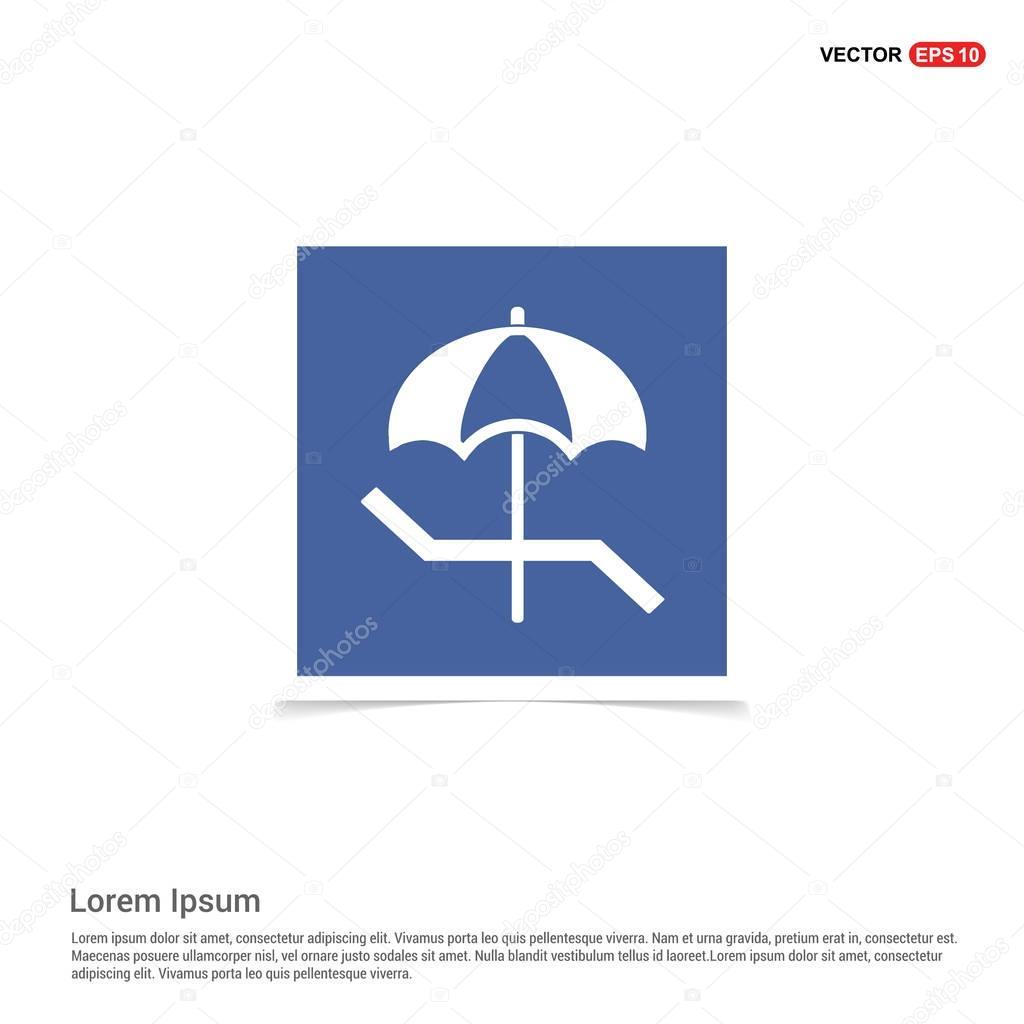 Beach umbrella and chaise longue icon