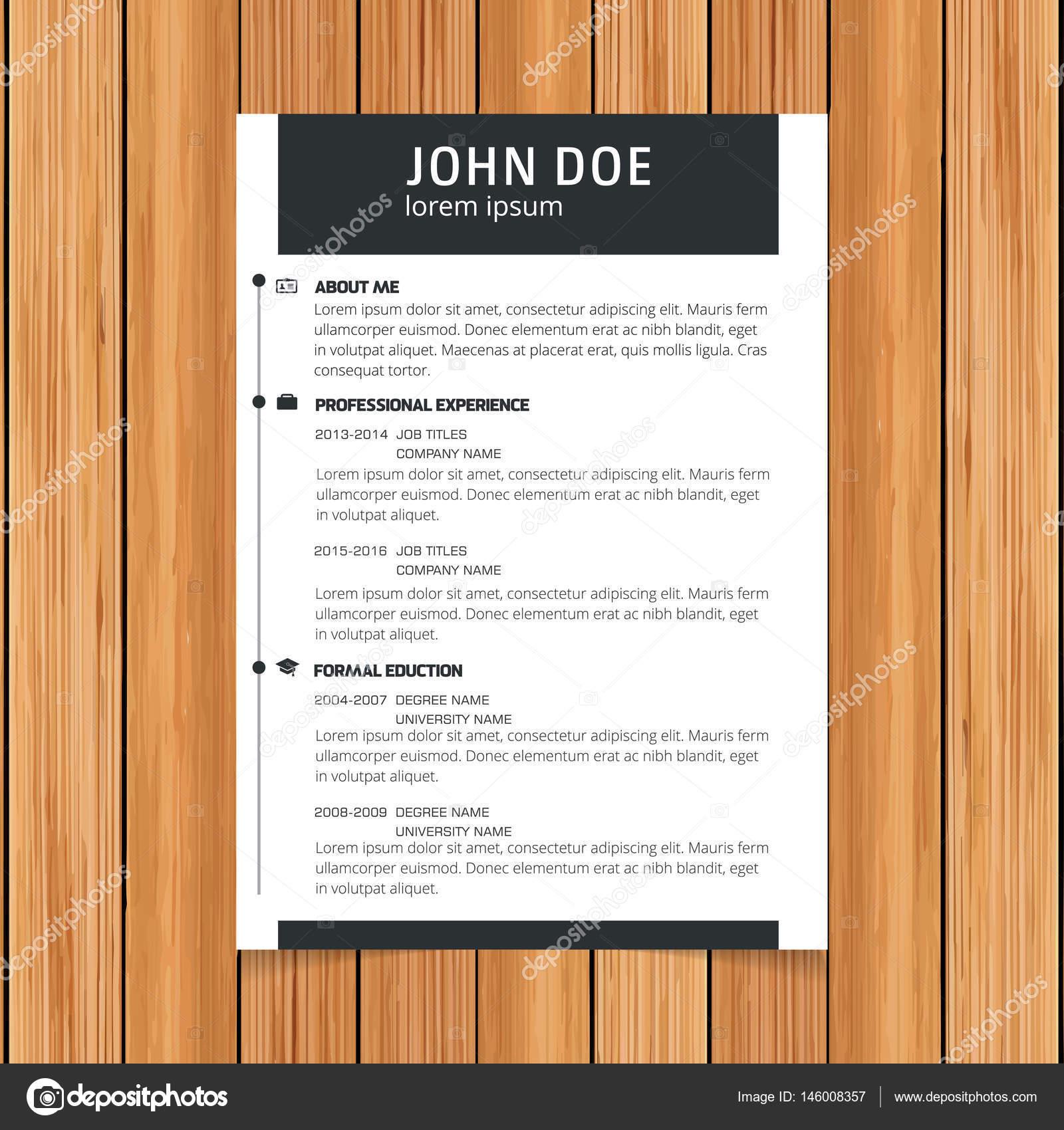 Plantilla de curriculum vitae para solicitudes de empleo — Vector de ...