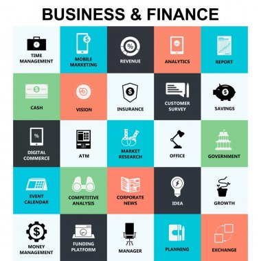 business and finance flat simple icons