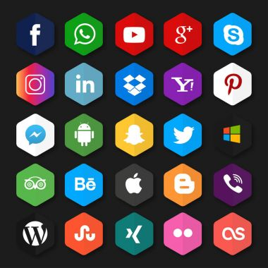 set of social networks web icons