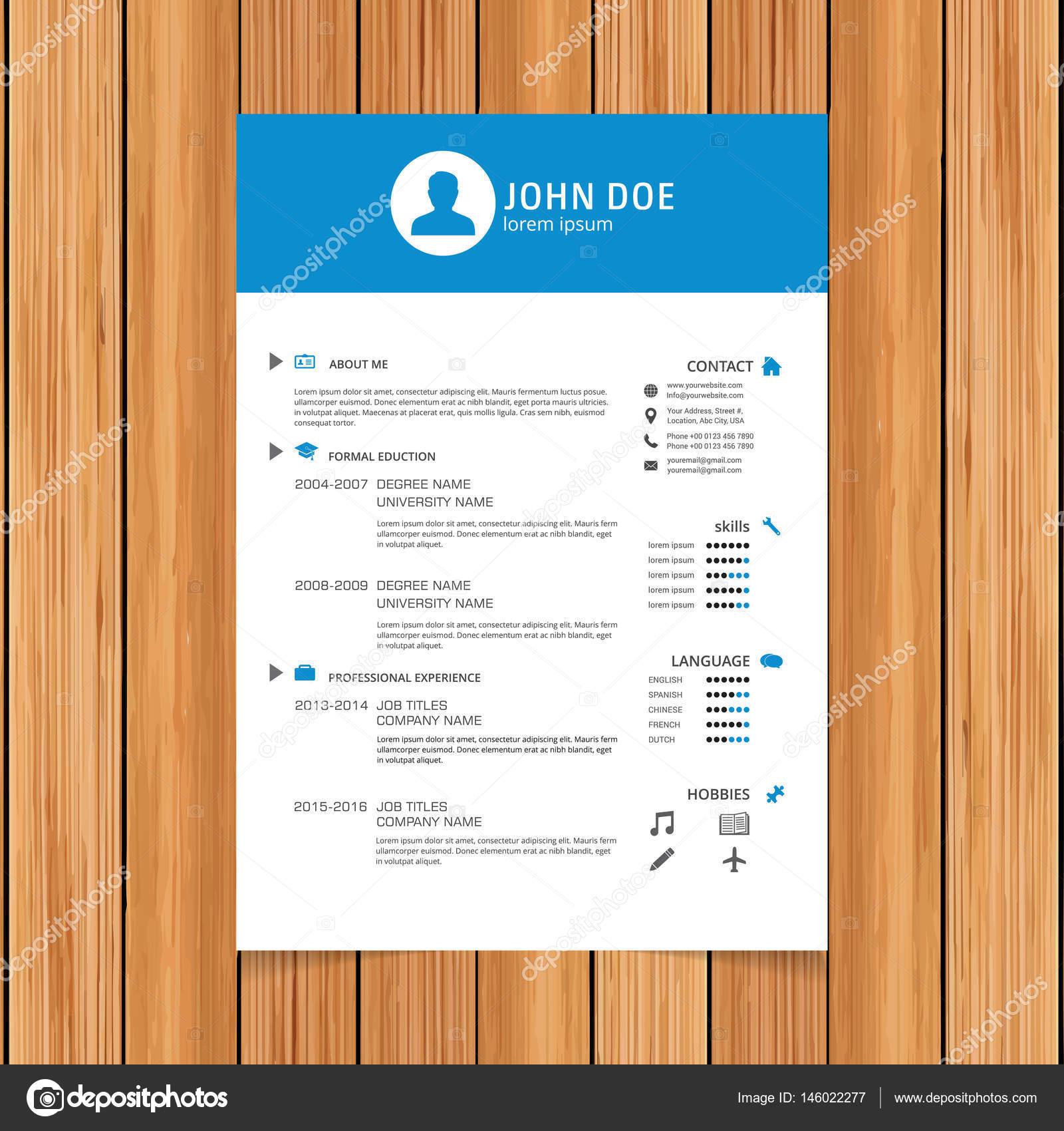 Resume Vorlage Für Bewerbungen Stockvektor Ibrandify 146022277