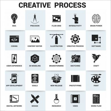 creative process flat simple icons