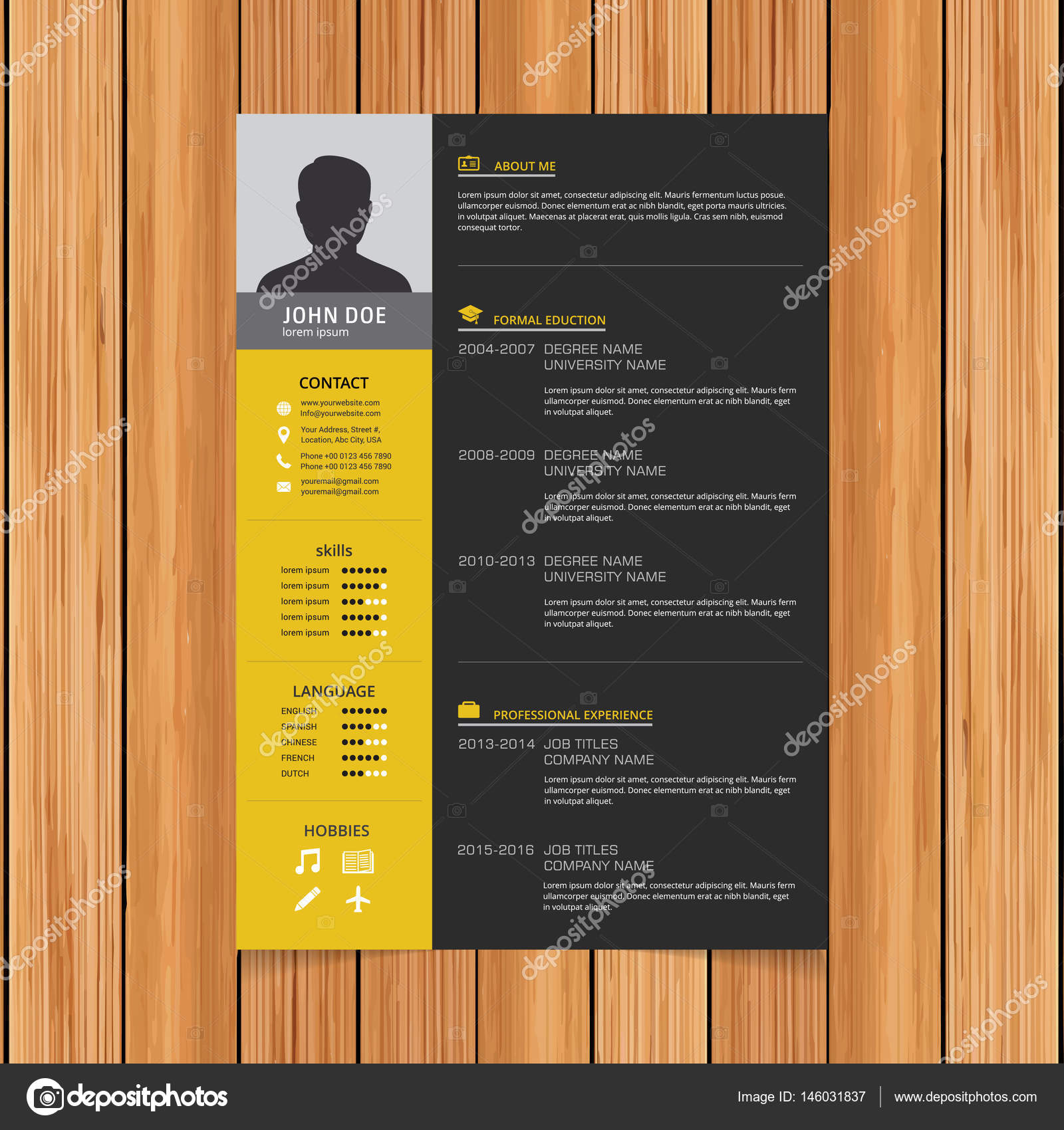 Resume Vorlage Für Bewerbungen Stockvektor Ibrandify 146031837