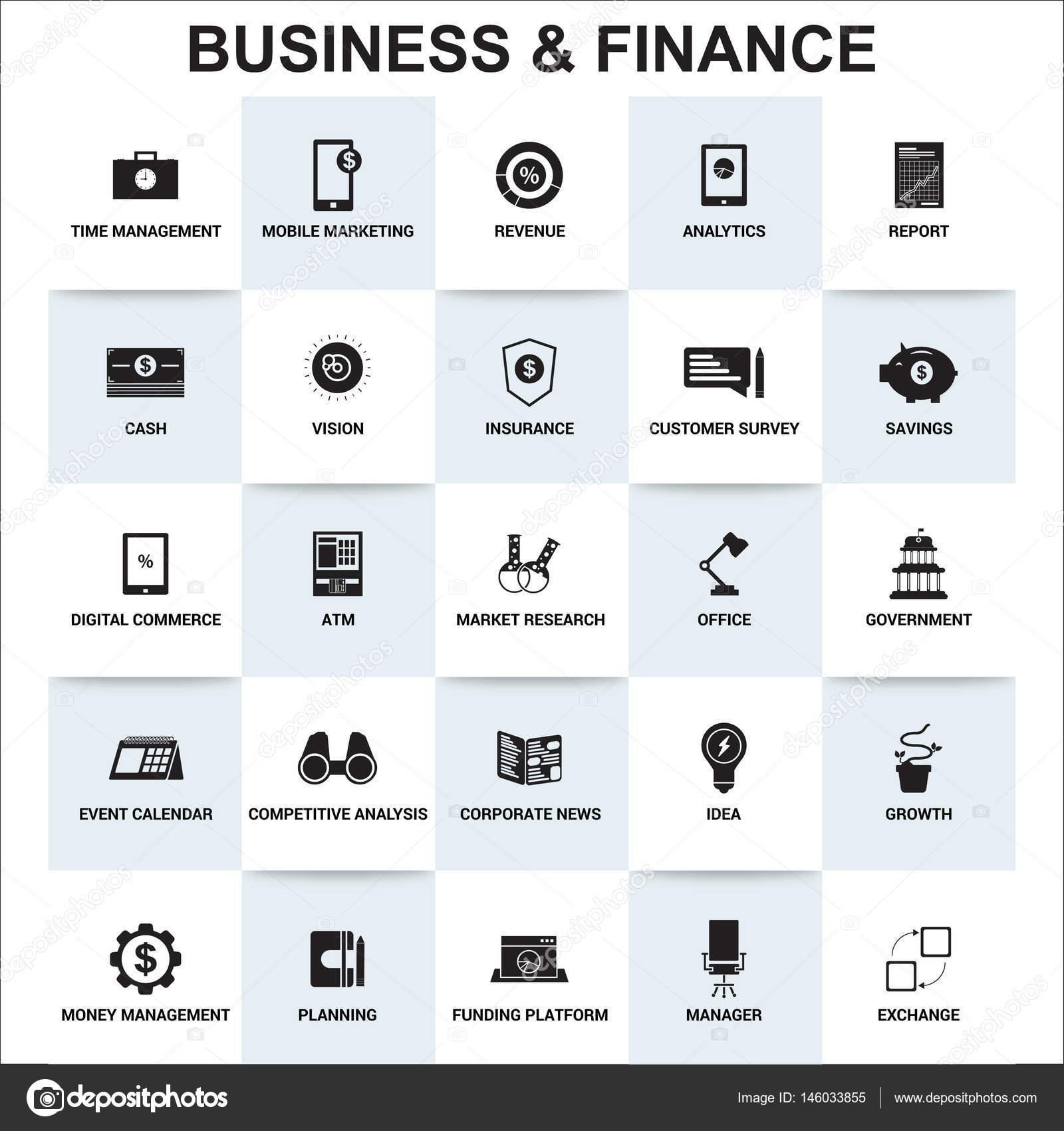 Wirtschaft und Finanzen flach einfache Symbole — Stockvektor ...