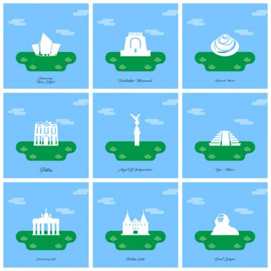 set of monument icons