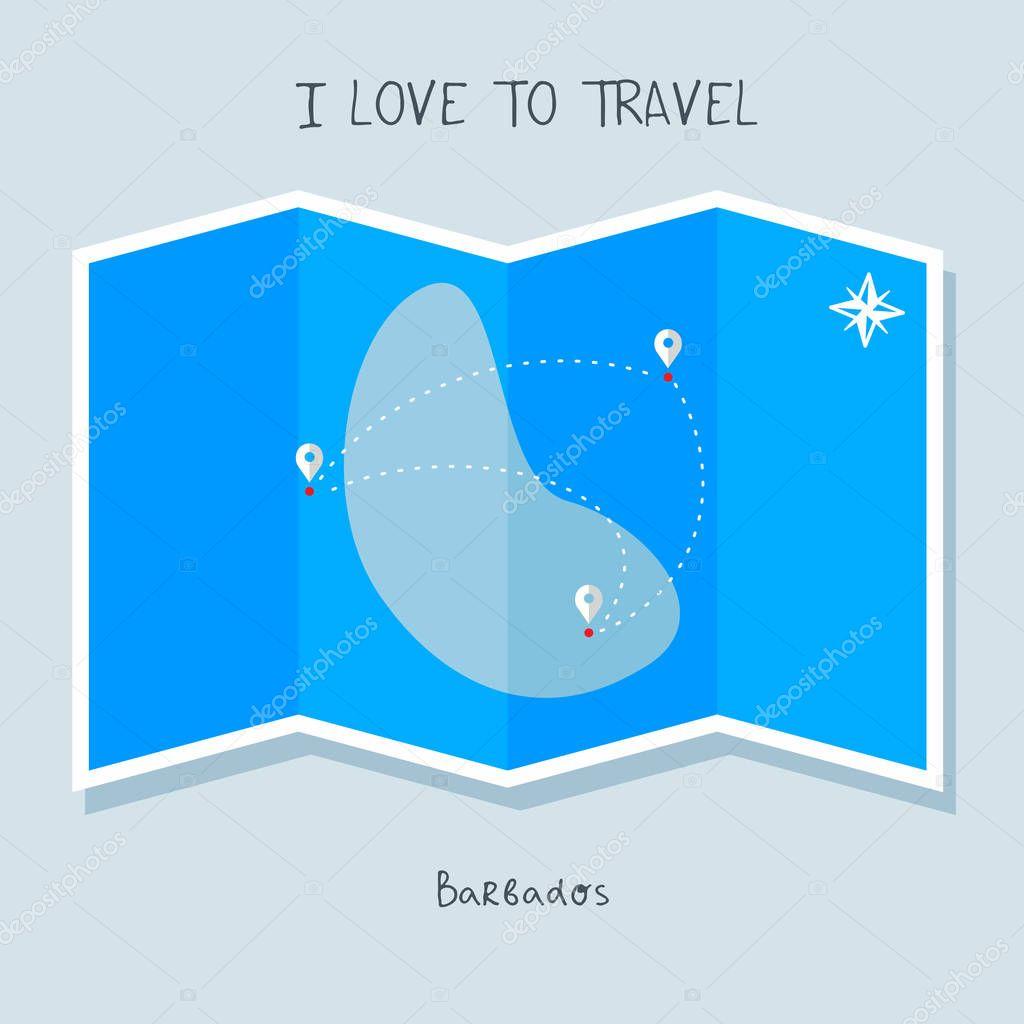 Barbados On Blue World Map I Love To Travel Premium Vector In Adobe Illustrator Ai Ai Format Encapsulated Postscript Eps Eps Format