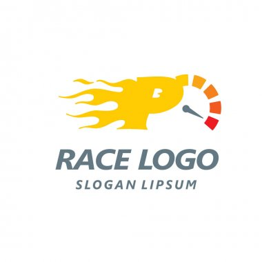 Speedometer logo flat design