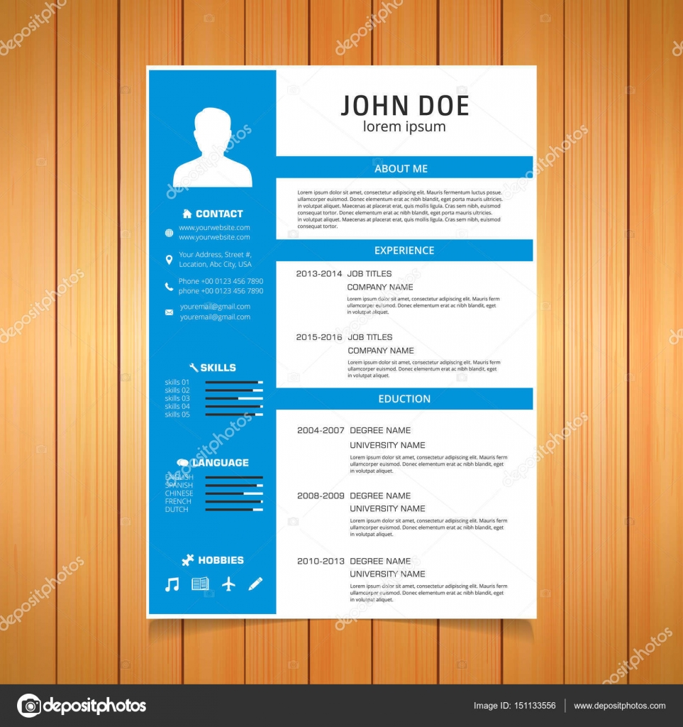 stylish resume template stock vector ibrandify 151133556