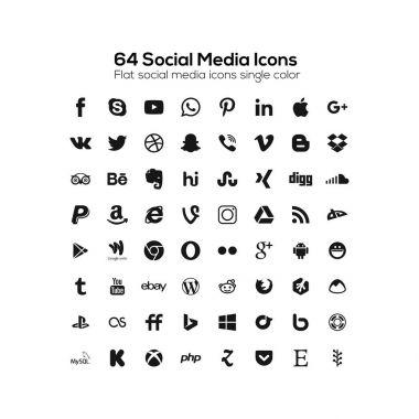 Set of Popular Social Media Icons