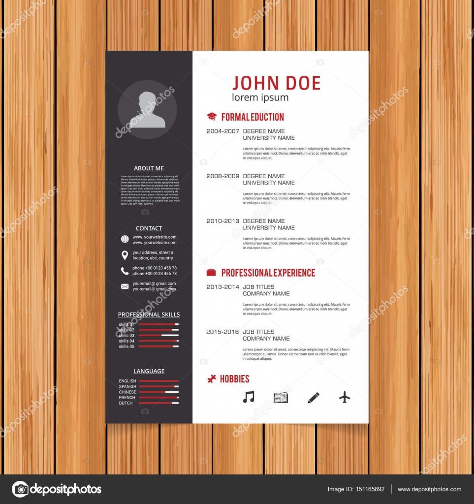 stylish resume template stock vector ibrandify 151165892