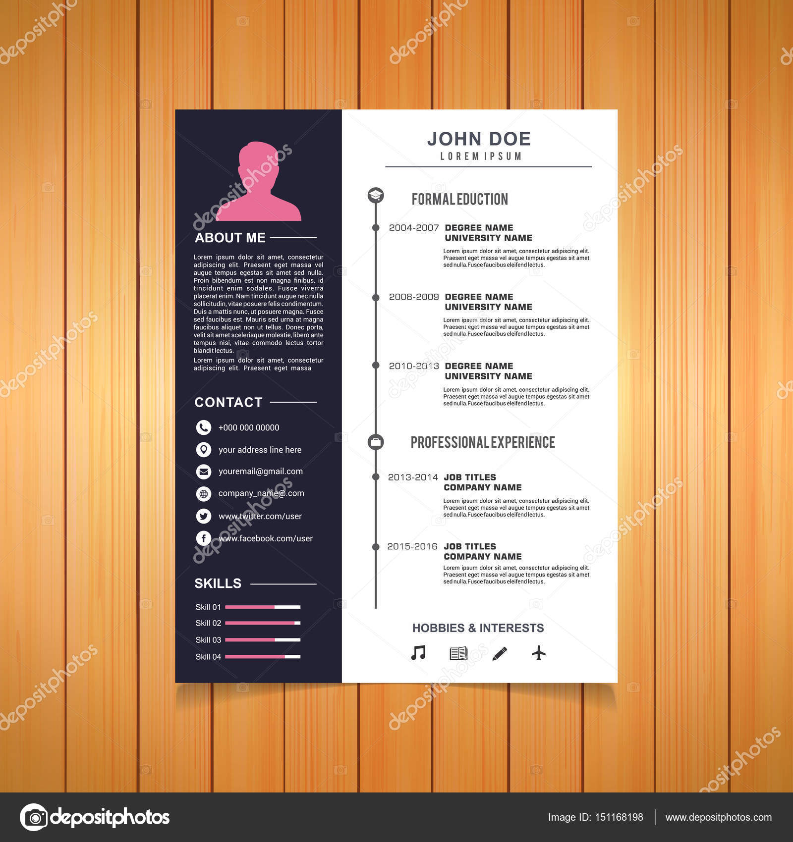 Creative Stylish Resume Template CV For Job Candidate Business Vector Illustration By Ibrandify