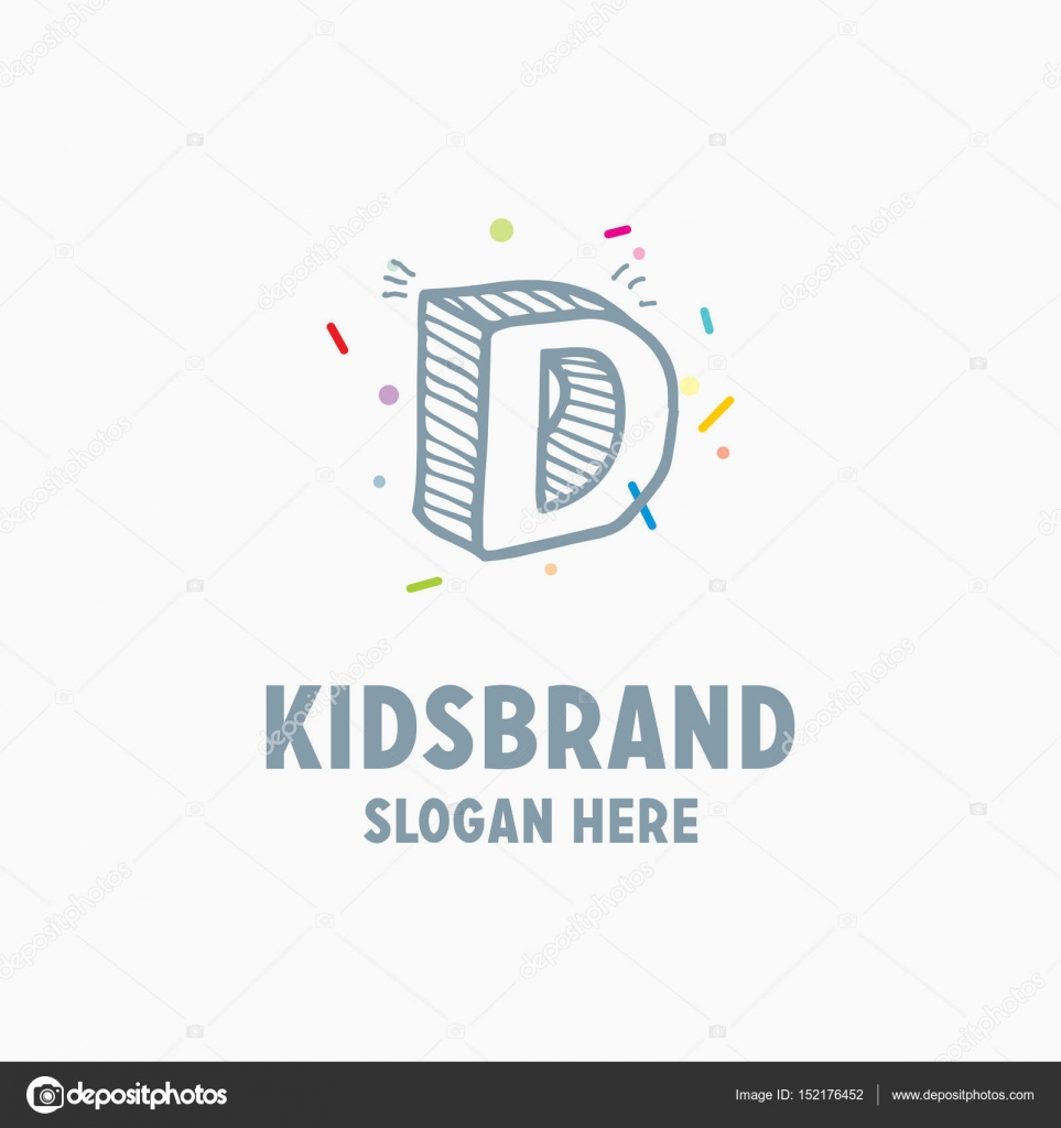 Kids Logo Template With Capital Letter D Stock Vector Ibrandify