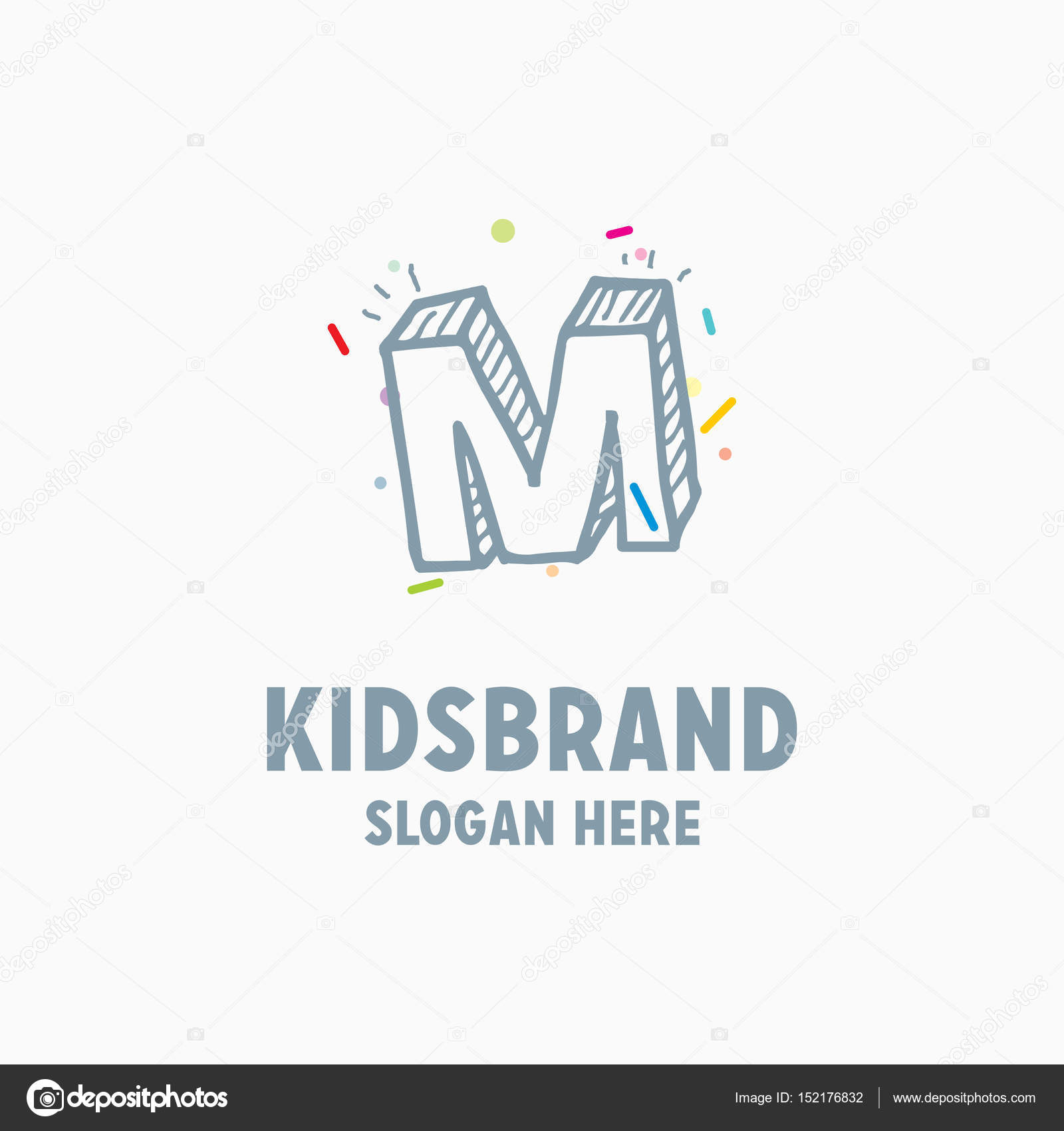 kids logo template with capital letter m stock vector ibrandify