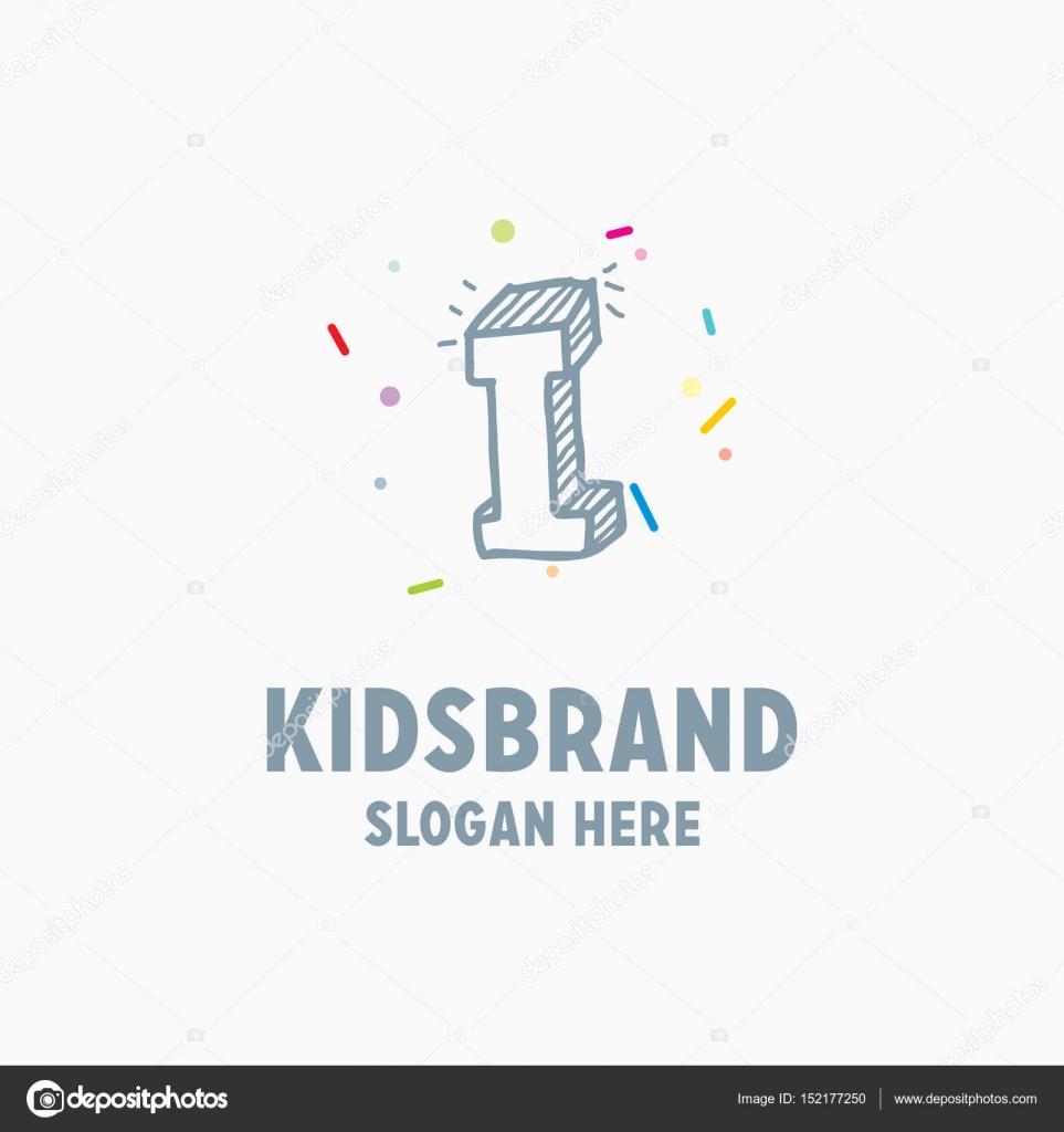 plantilla de logotipo de niños con capital de la letra I — Archivo ...