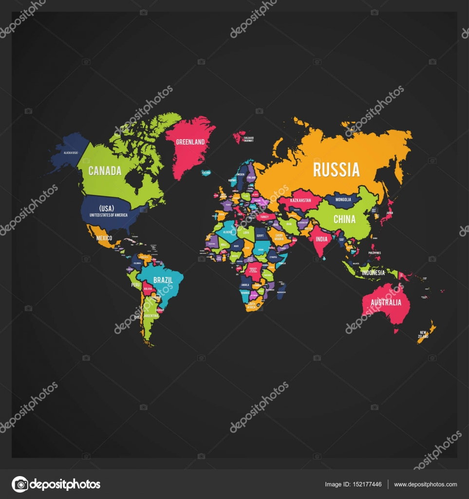 Colorful world map stock vector ibrandify 152177446 colorful world map with country names on black background vector by ibrandify gumiabroncs Gallery