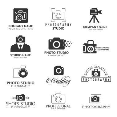 set of camera flat logos