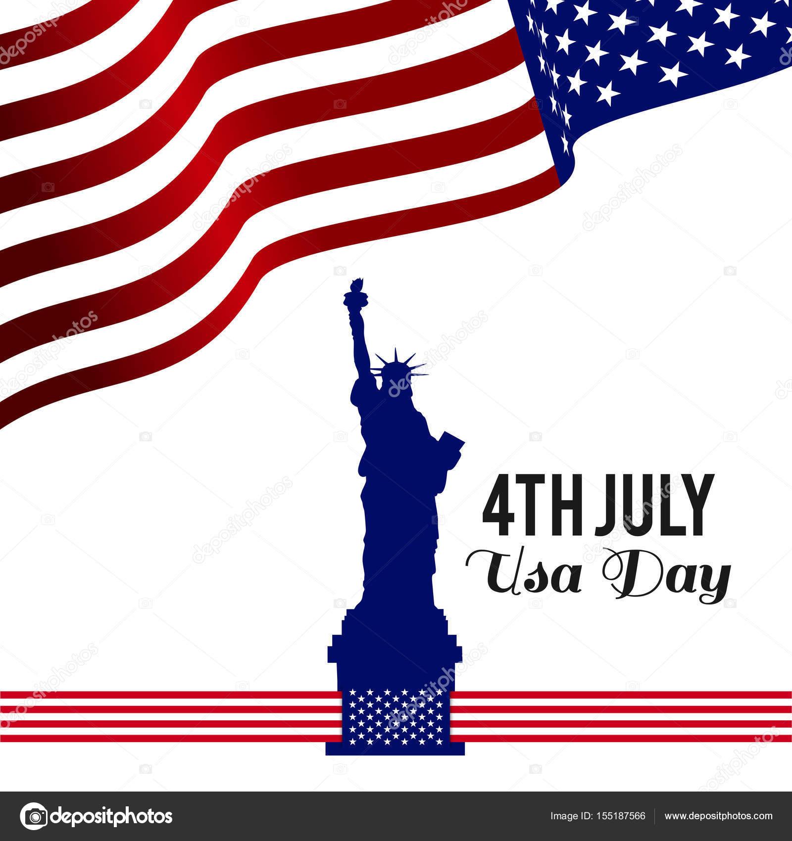 aabbb9844ab3b0 Statua della libertà e della bandiera americana su fondo bianco —  Vettoriali di ...