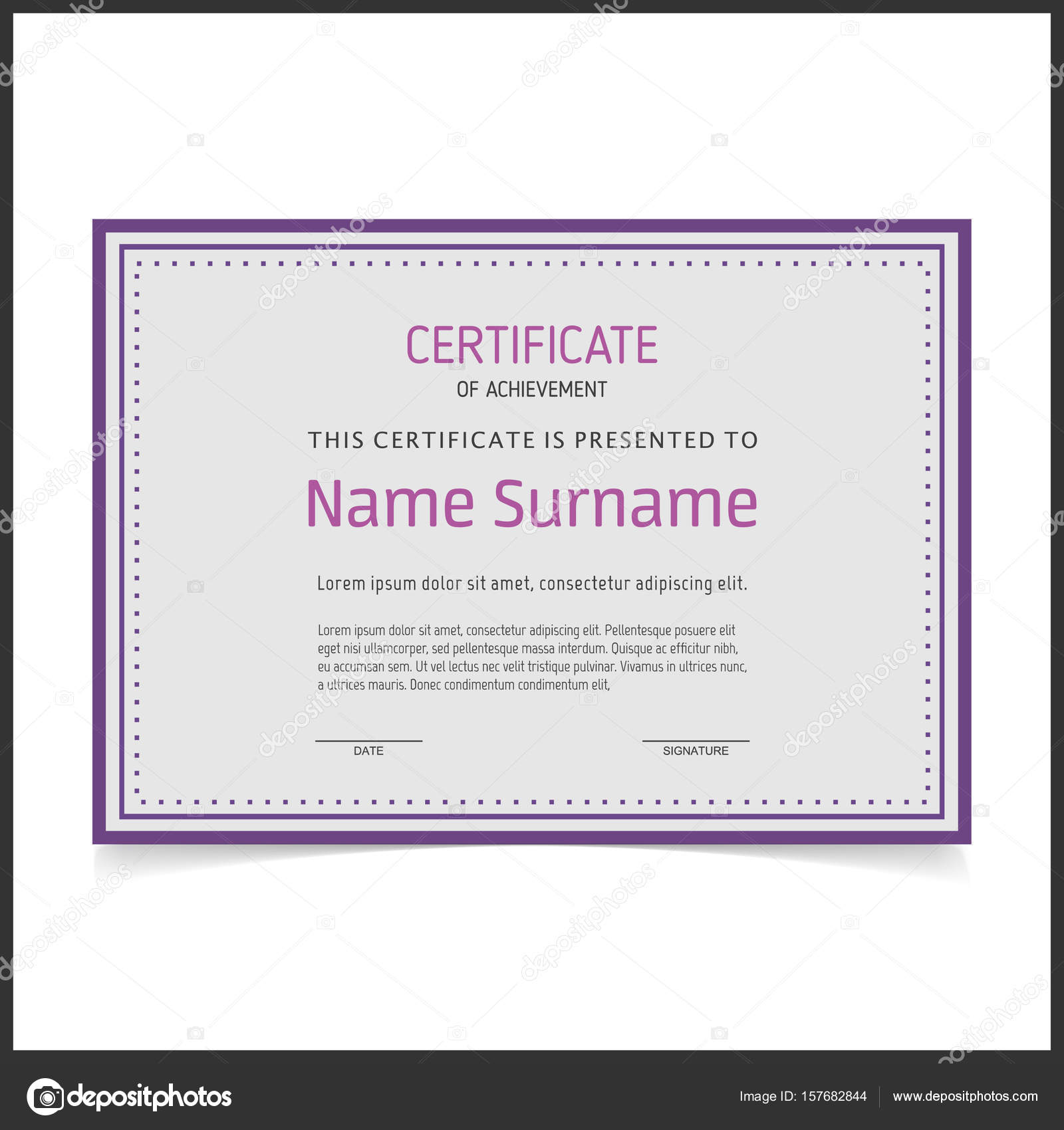 certificate template with purple borders stock vector