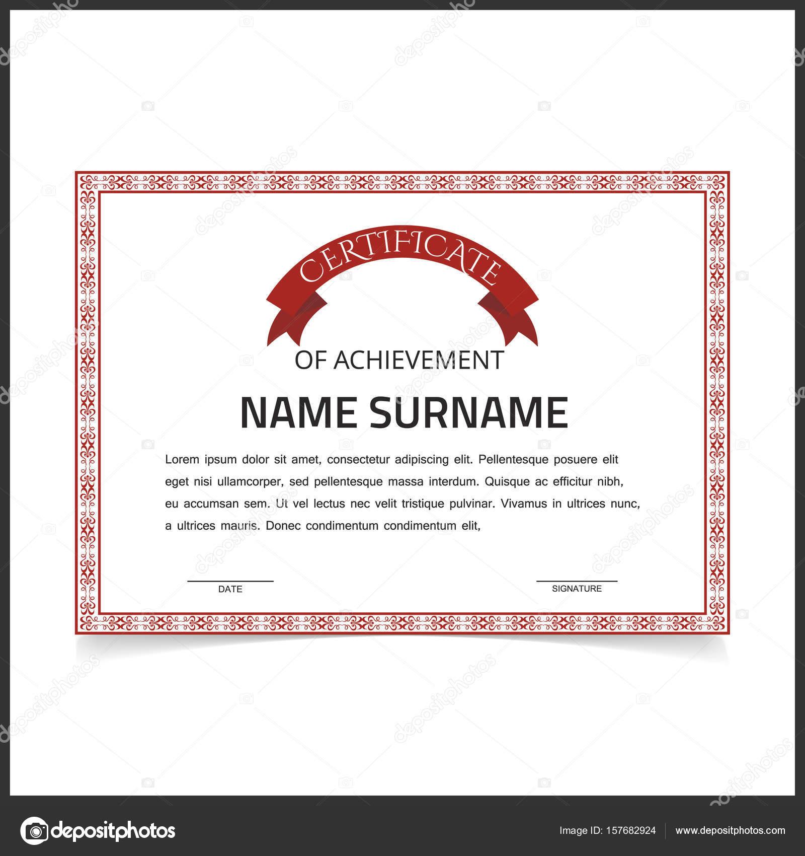 Zertifikat-Vorlage mit roten Design Grenzen — Stockvektor ...