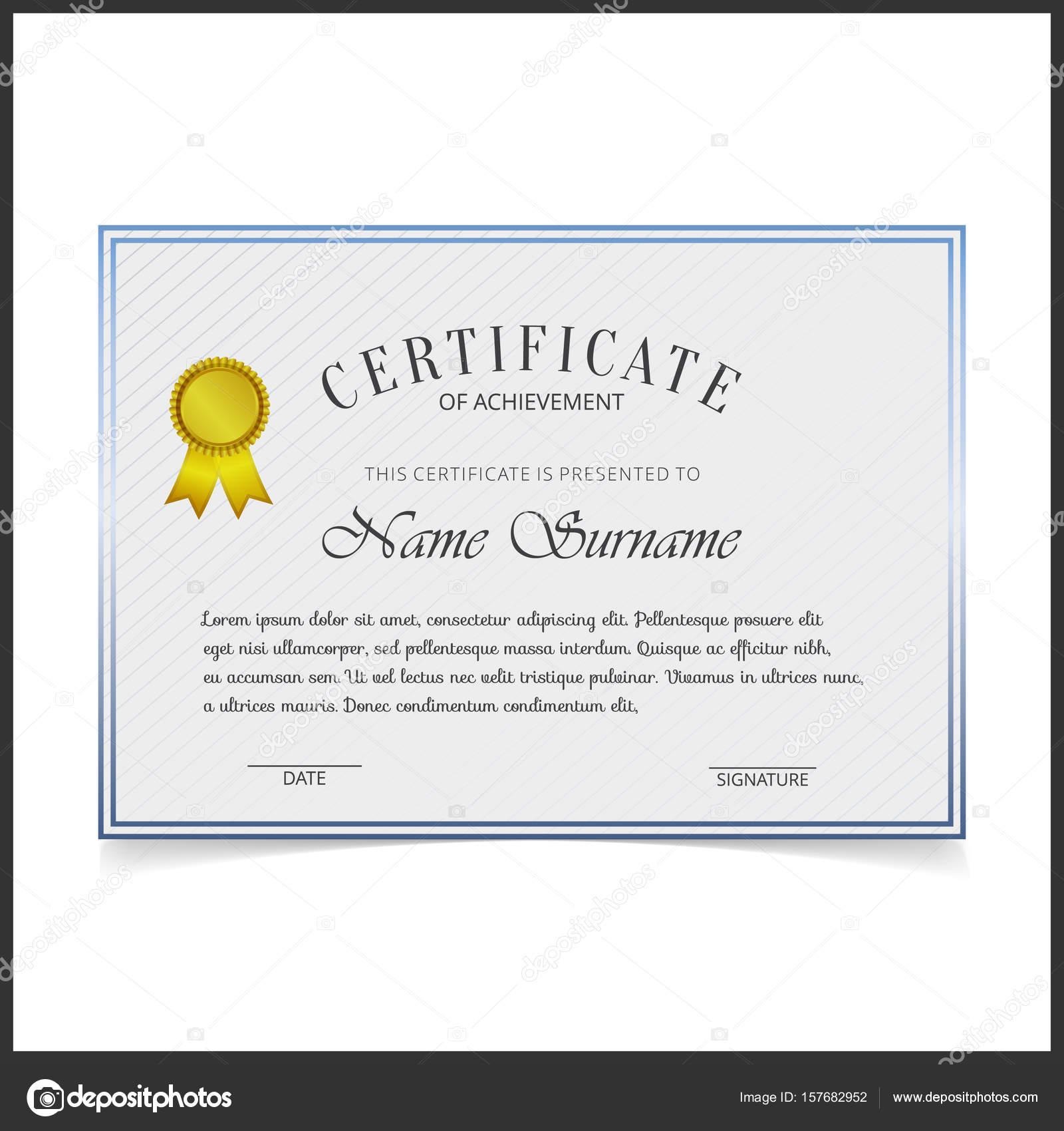 Zertifikat-Vorlage mit blauen Design Grenzen — Stockvektor ...