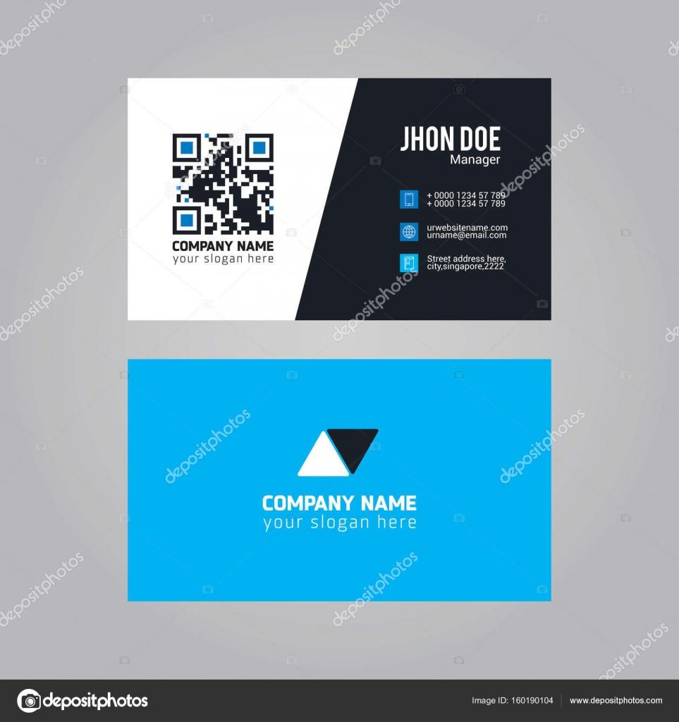 Blanc Et Noir Bleu Couleur Professional Business Card Avec Qr Code Vecteur Par Ibrandify