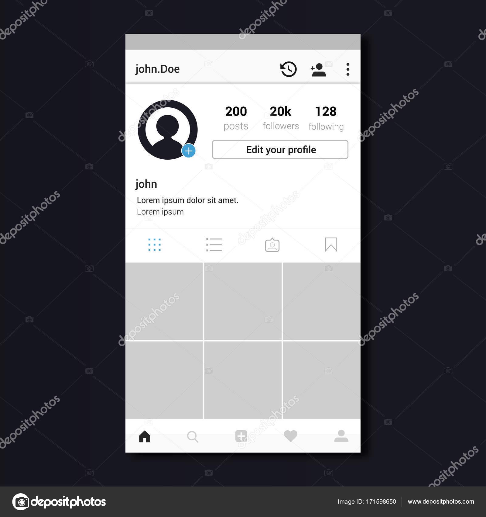 dise o de plantilla de perfil de instagram archivo im genes vectoriales ibrandify 171598650. Black Bedroom Furniture Sets. Home Design Ideas
