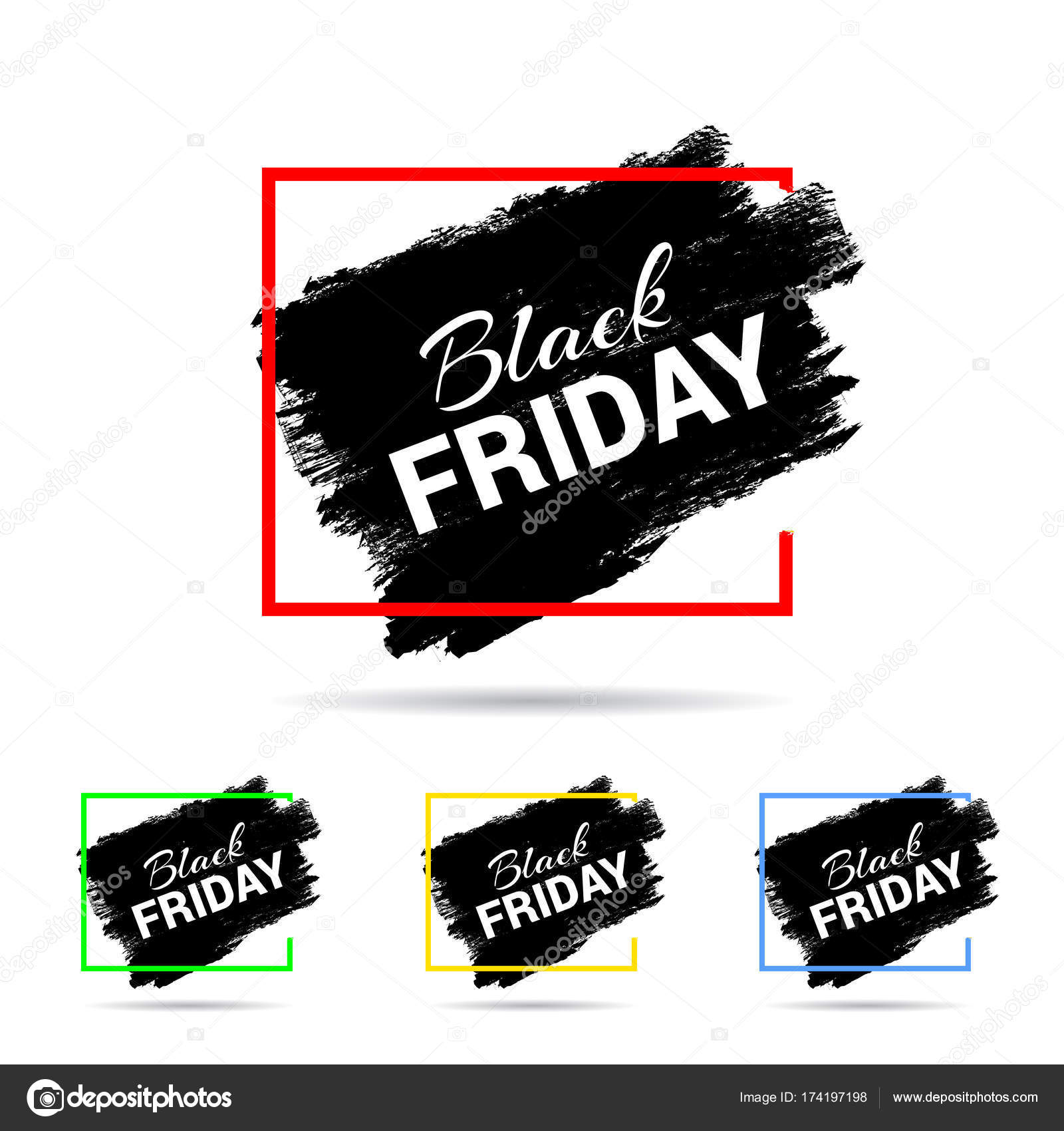 Simple Black Friday Cards Black Paint Brush Mark White Background Stock Vector C Ibrandify 174197198