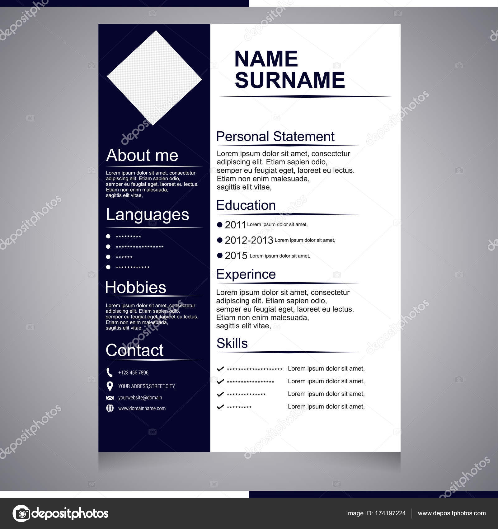 Creative Stylish Resume Template Job Candidate Business Vector