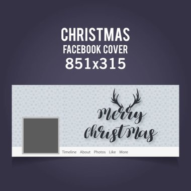 Christmas grey web banner cover with deer horns