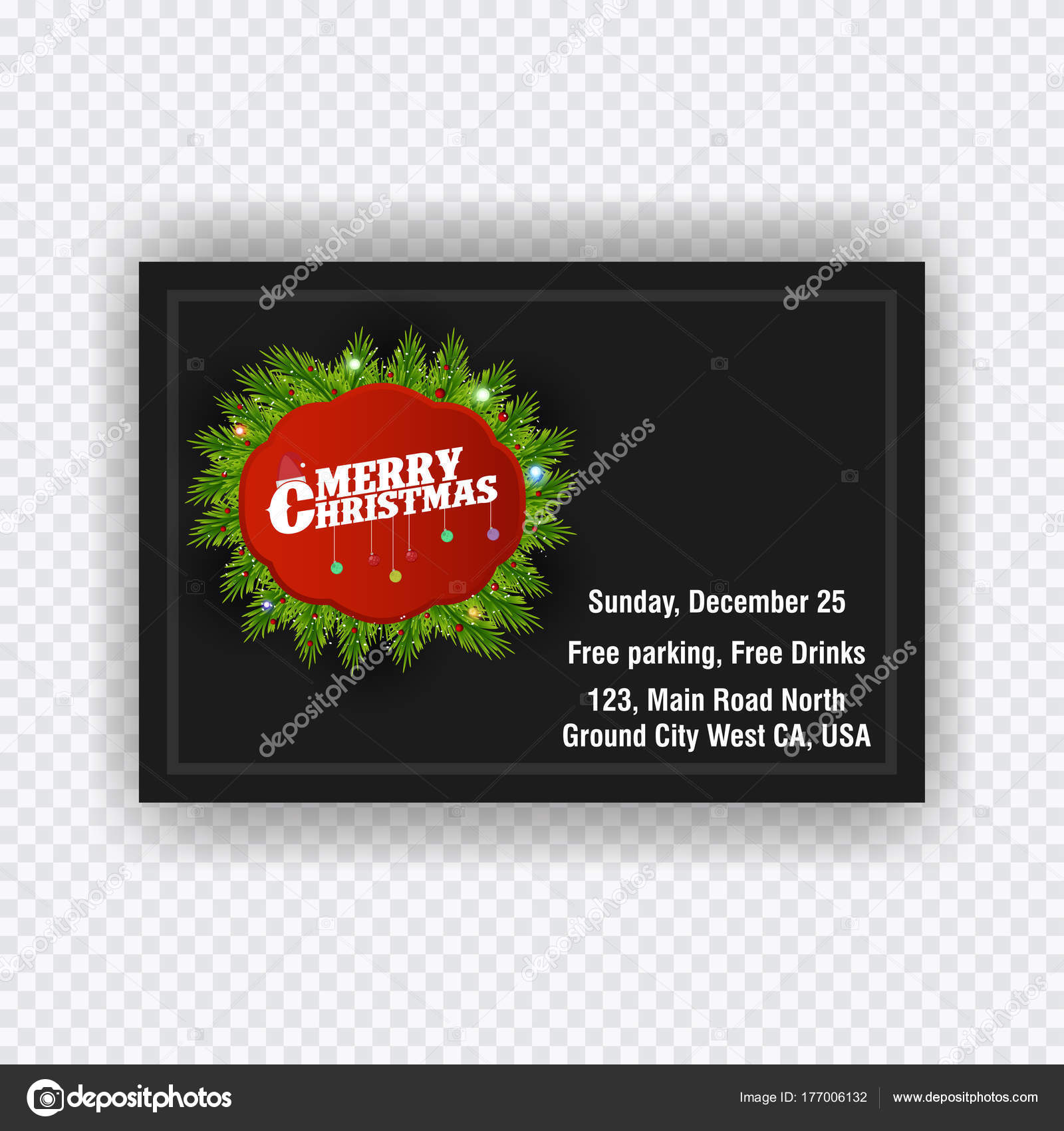 Christmas Invitation Card Vector Illustration Stock Vector