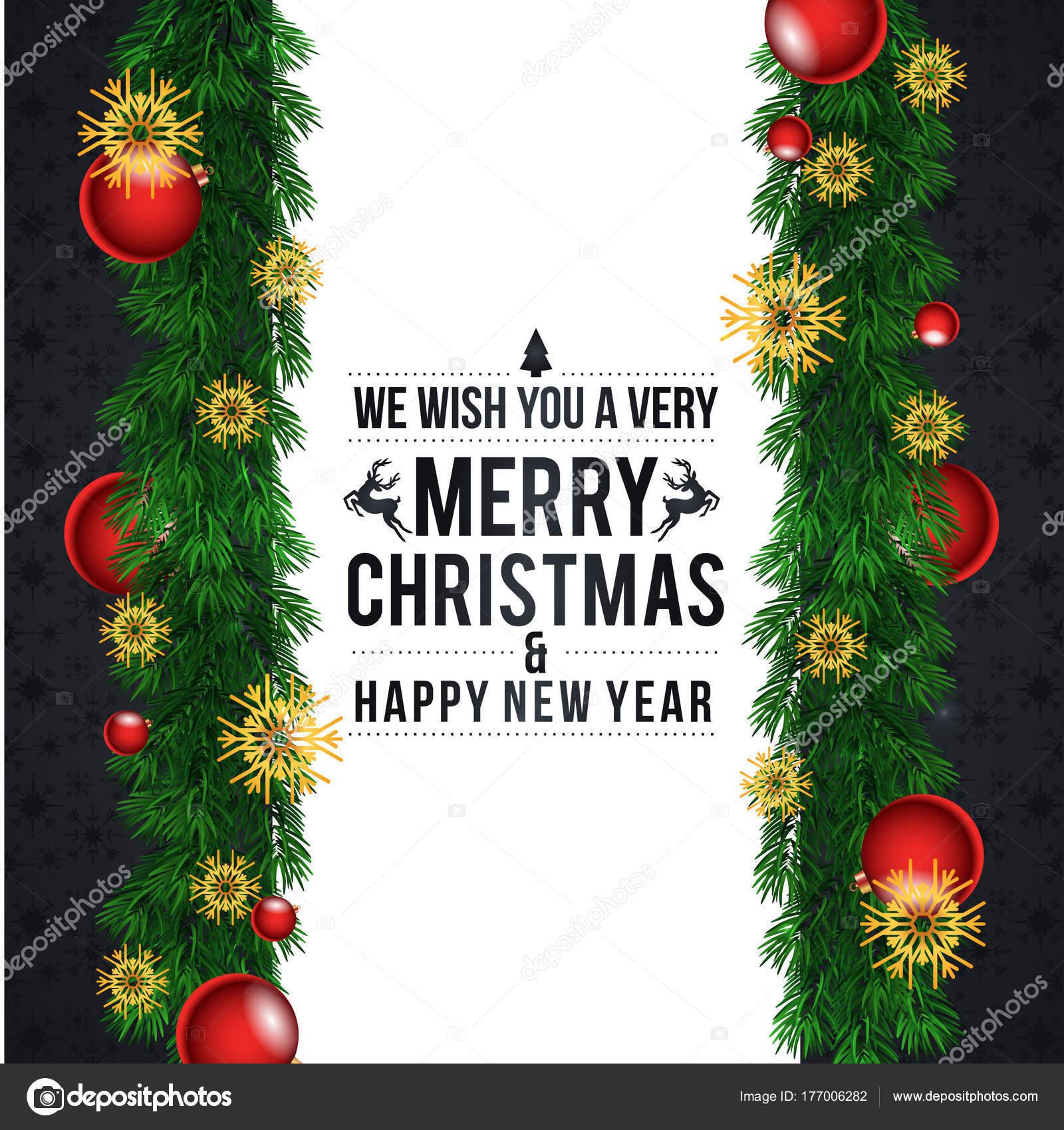 Weihnachtsbaum Girlande.Stilvolle Weihnachten Grusskarte Mit Weihnachtsbaum Girlande Und