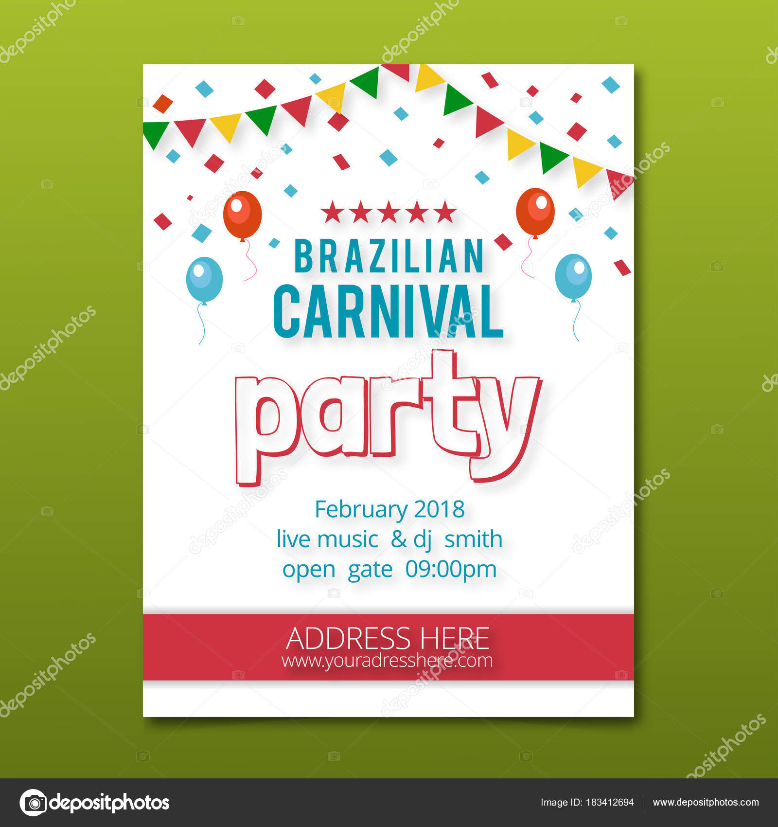 brazilian carnival party invitation card white color having