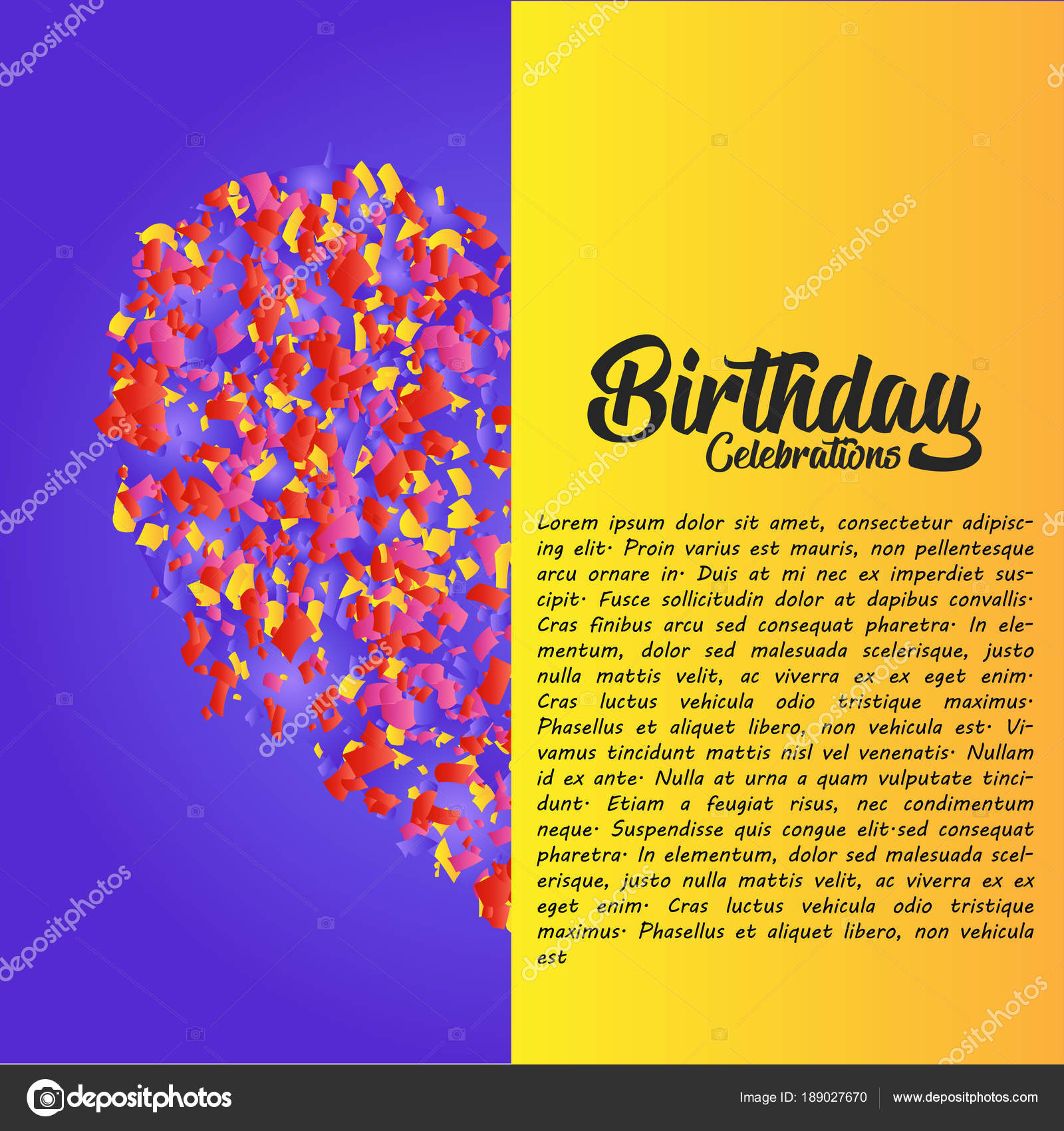 Elegant Design Happy Birthday Greetings Card Colorful Vector