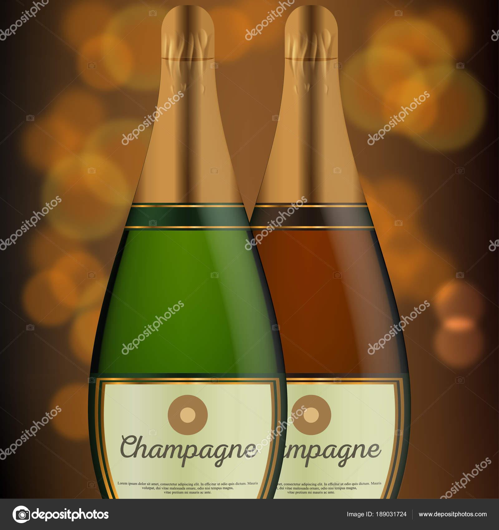 Scheda Disegno Buon Compleanno Con Bottiglie Vino Vettoriali Stock