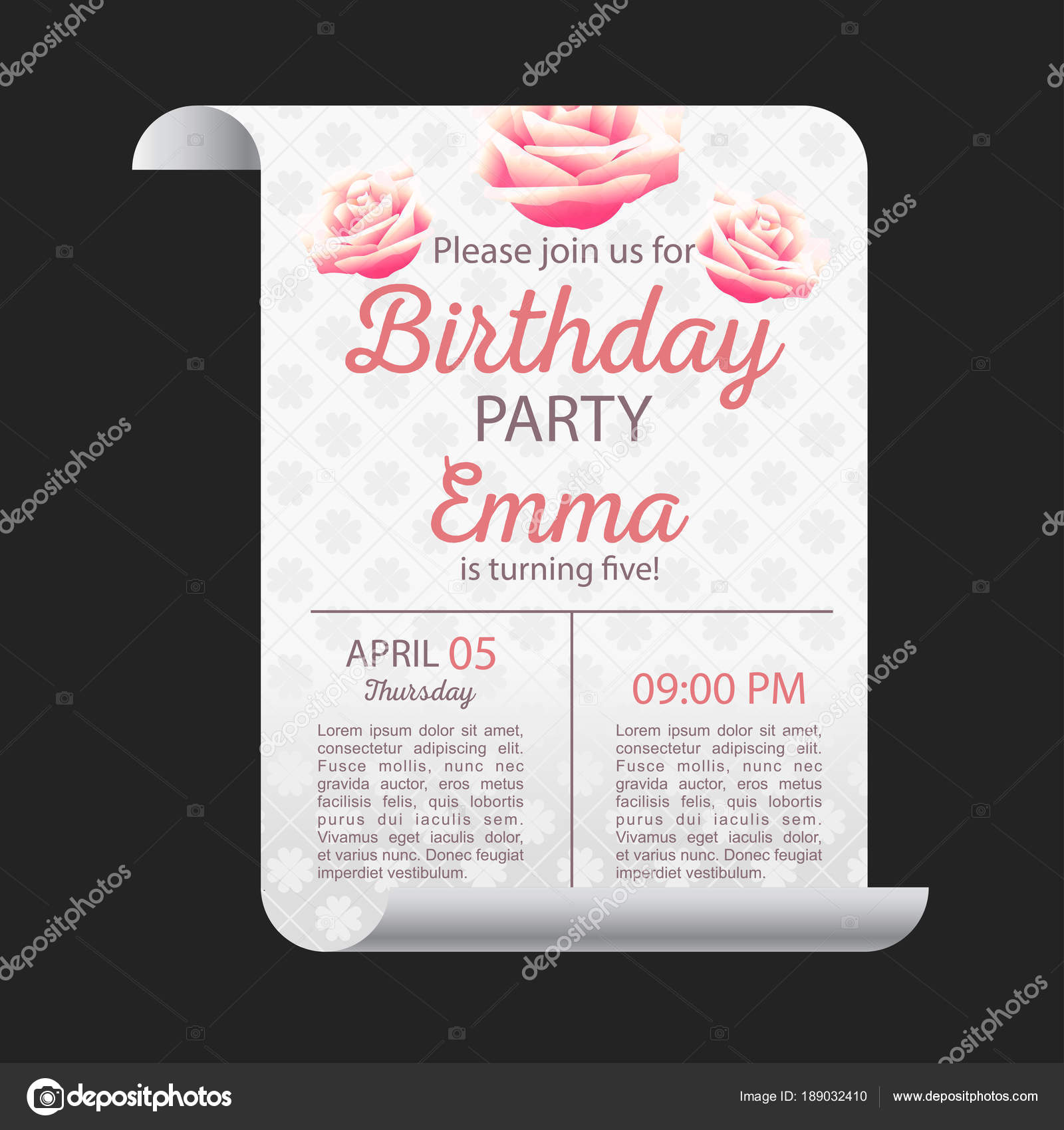Elegant Vector Design Happy Birthday Card Pattern Background Stock