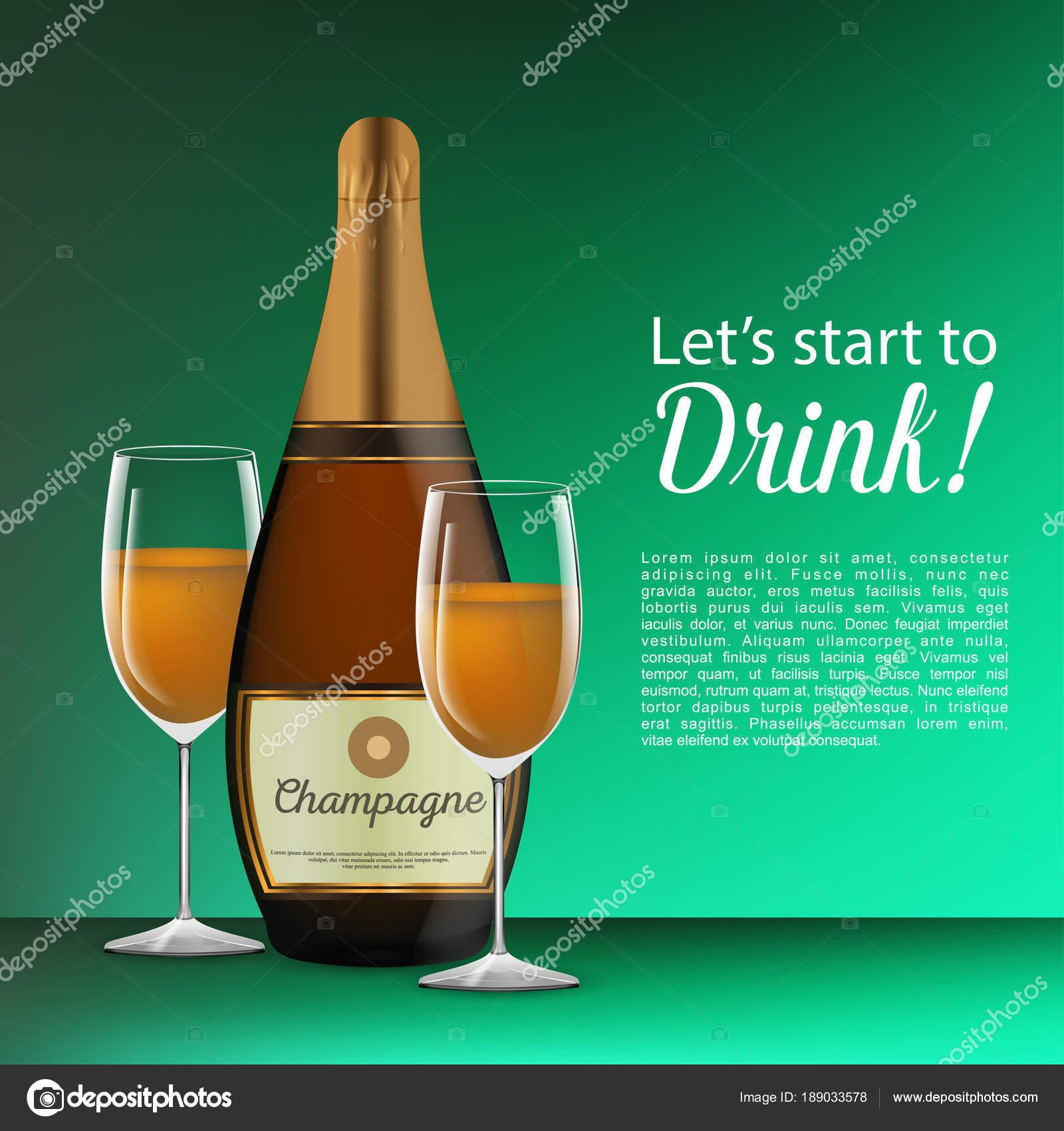 Scheda Disegno Buon Compleanno Con Una Bottiglia Vino Bicchieri