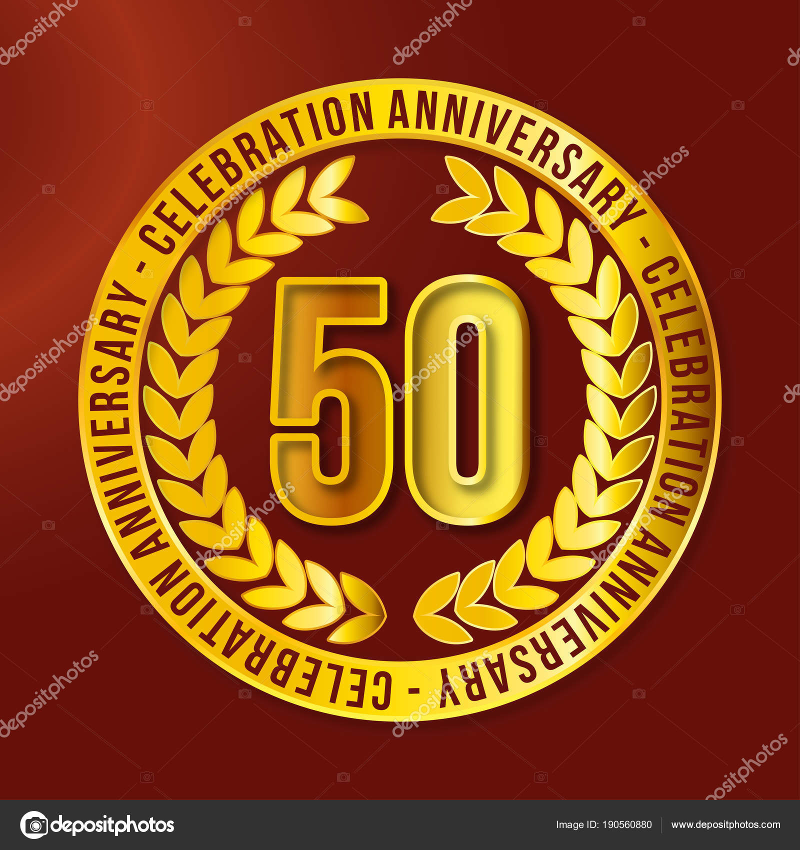 Birthday Greeting Card For 50 Years Anniversary Vector Illustration Stock