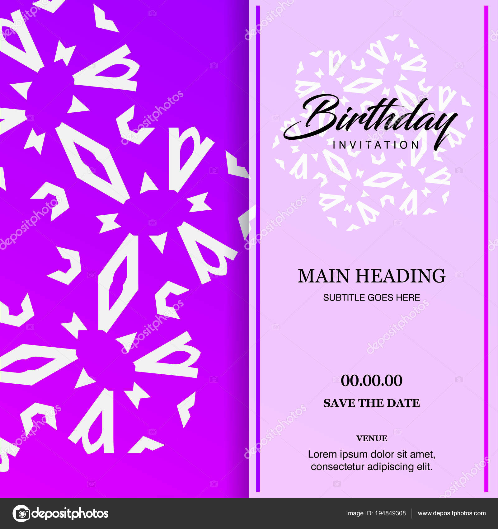 Diseño Tarjeta Invitación Cumpleaños Ilustración Vectorial