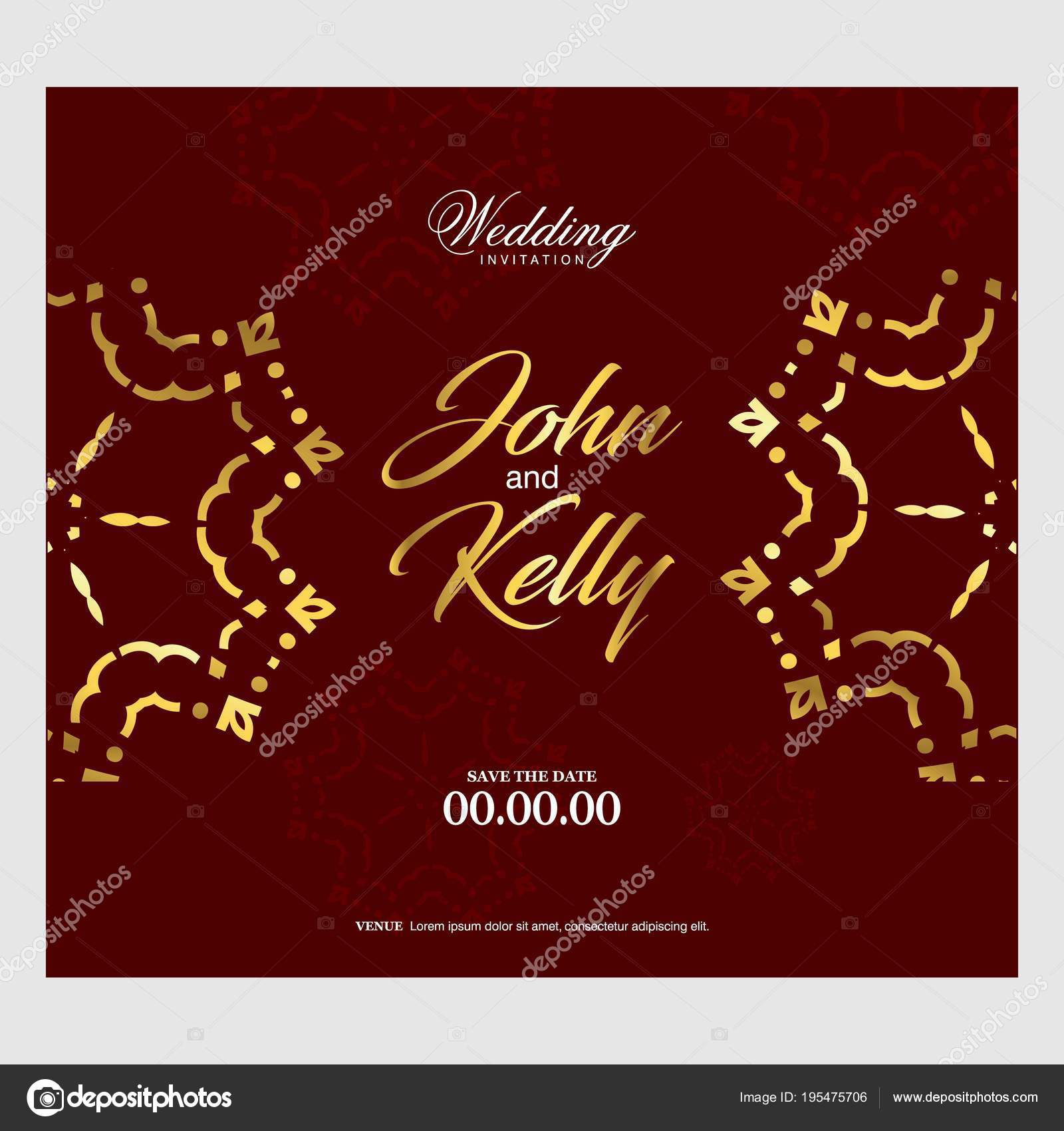 Wedding Card Creative Design Elegant Style Brown Background — Stock ...