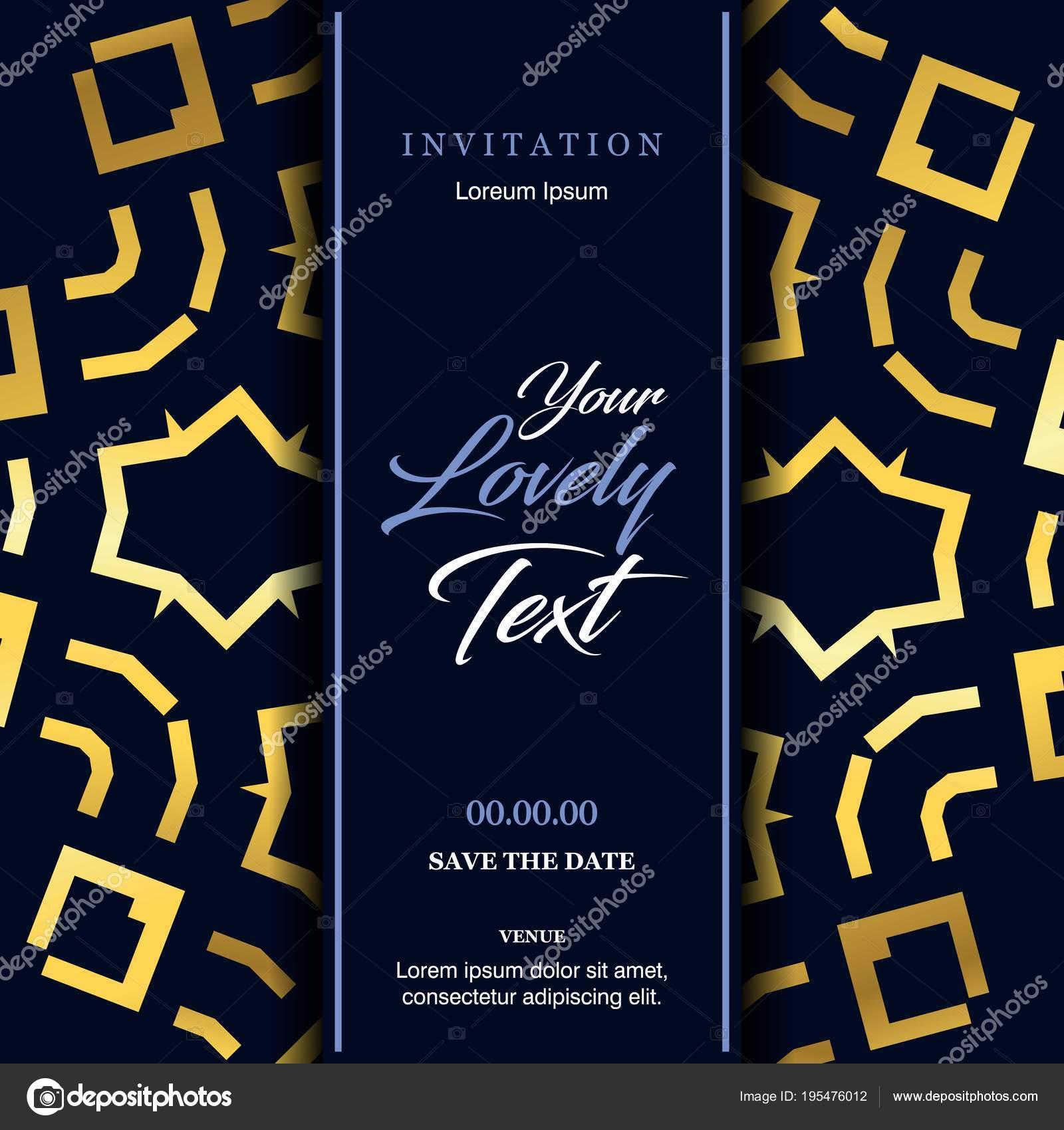 Wedding Ceremony Card Elegant Design Typography Blue Background